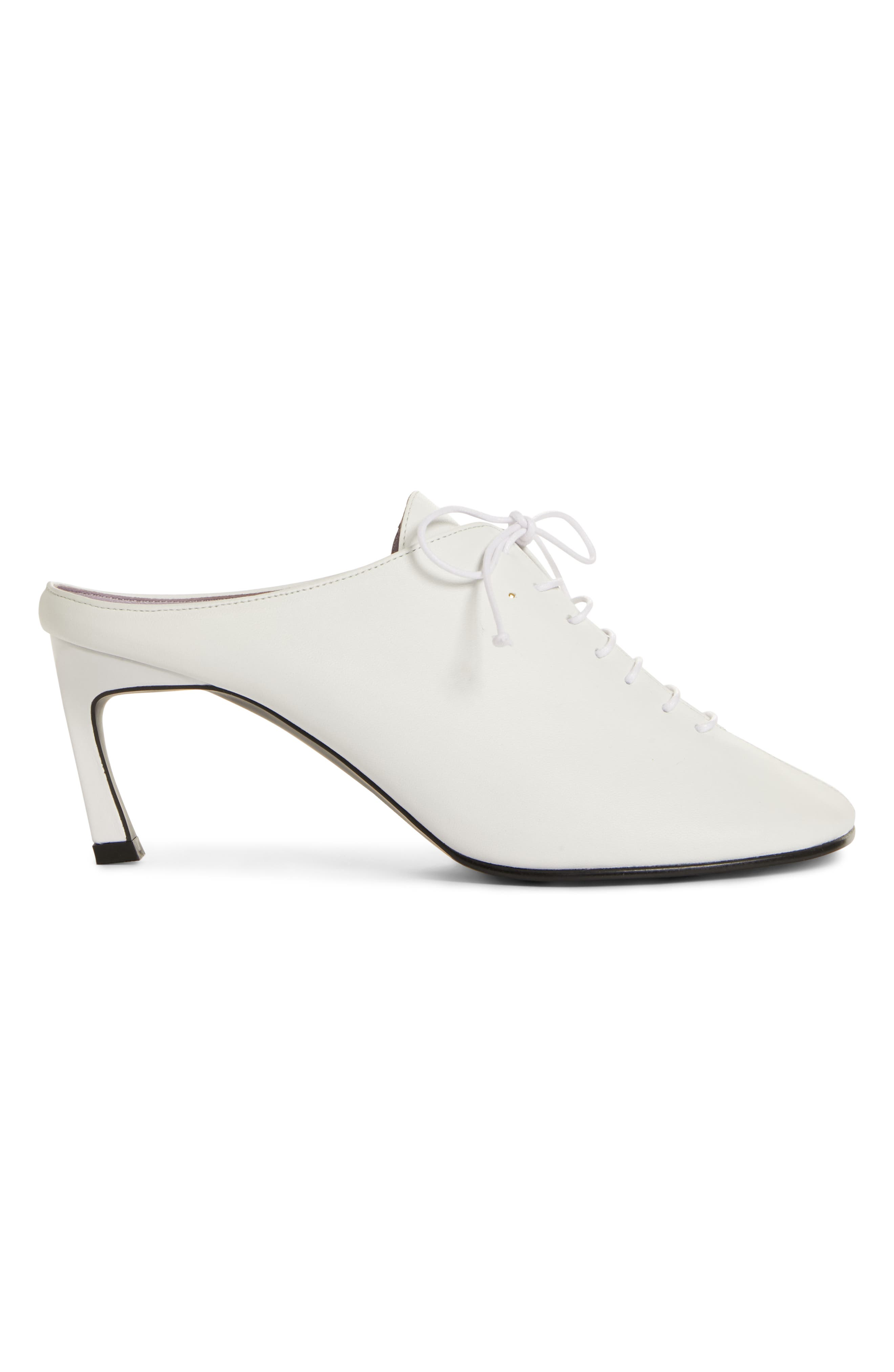 Wide Lace-Up Mule,                             Alternate thumbnail 3, color,                             WHITE