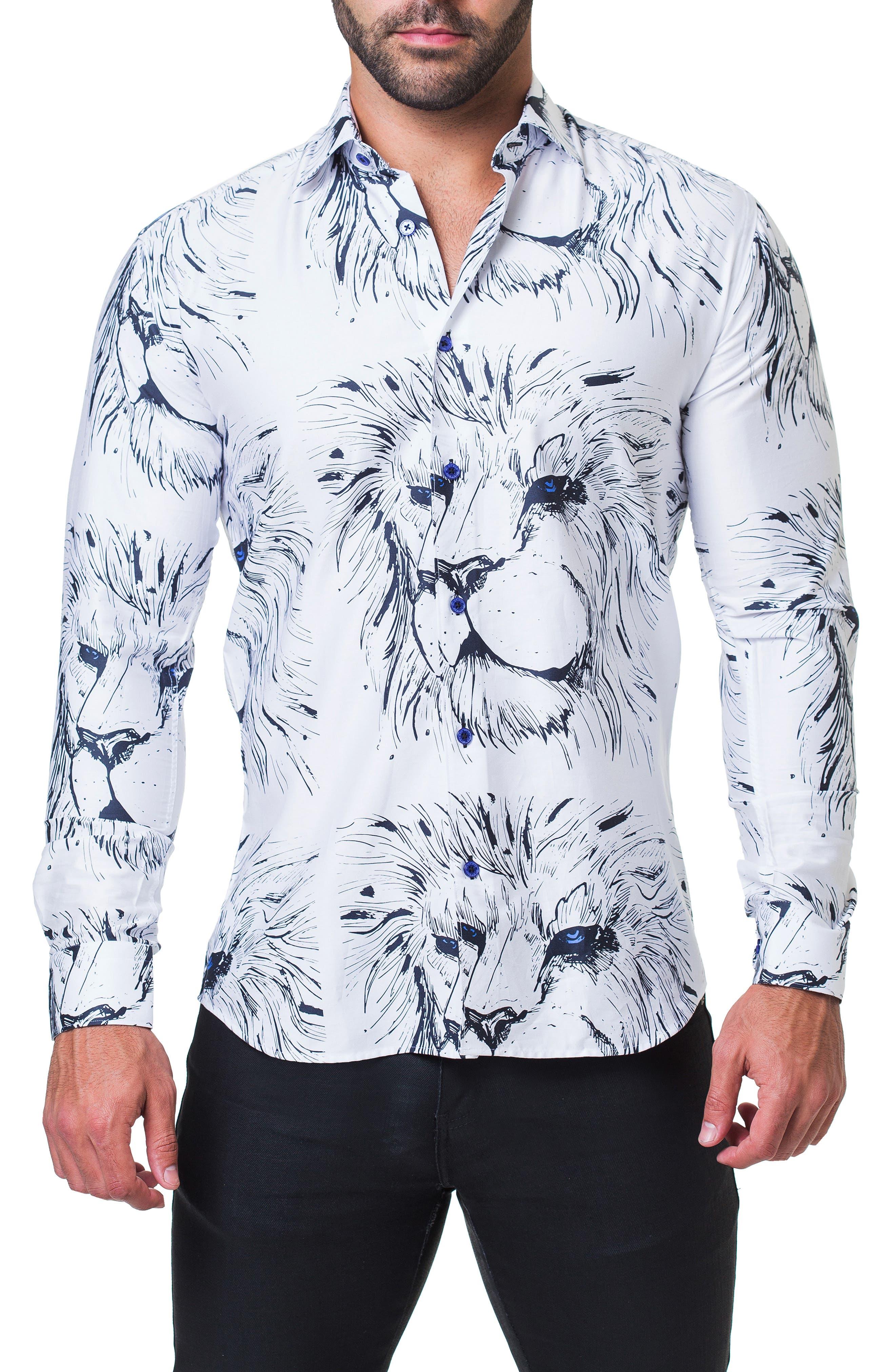 Fibonacci Lion Trim Fit Print Sport Shirt,                             Main thumbnail 1, color,                             110