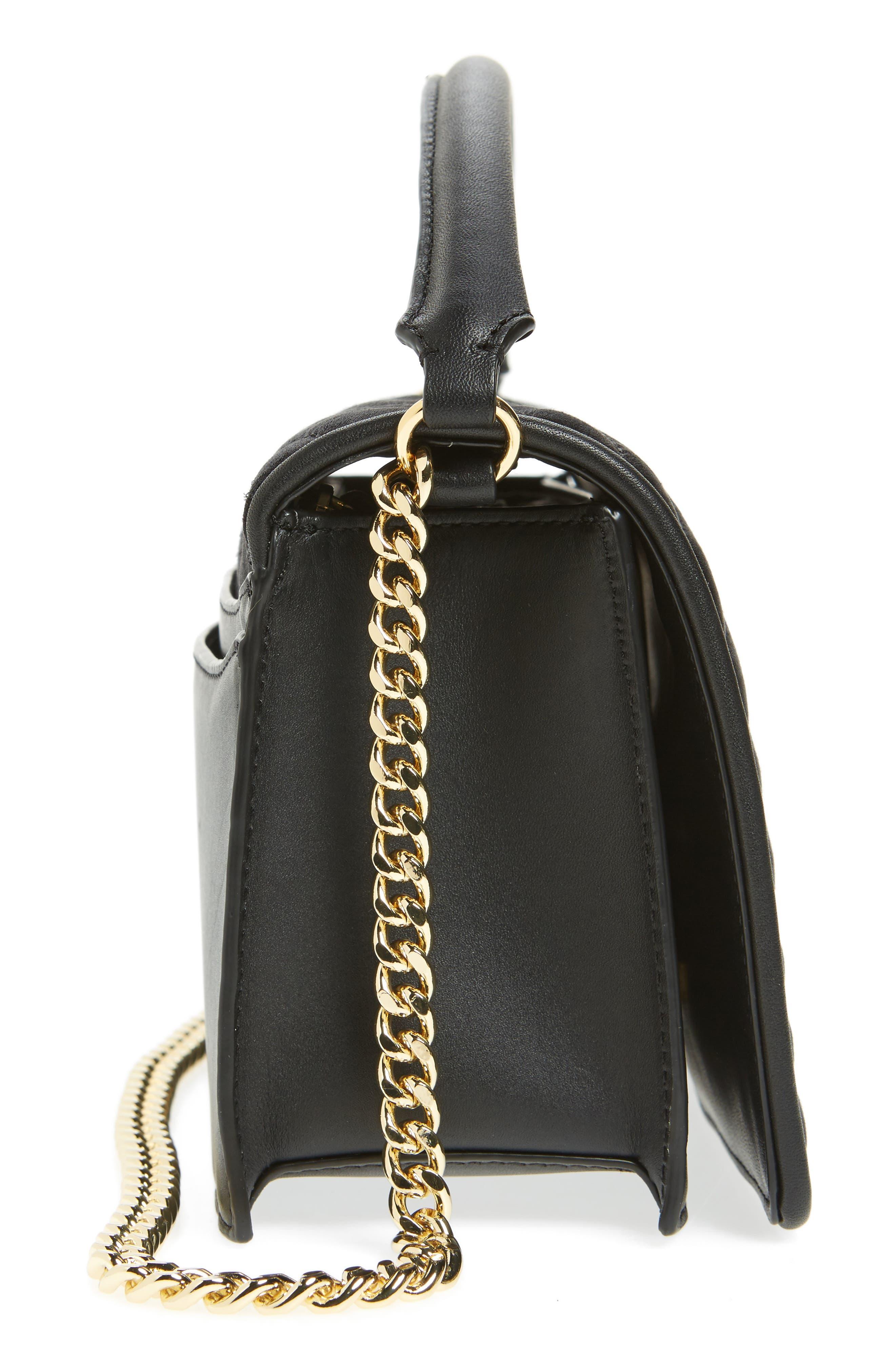 Bonne Soirée Quilted Top Handle Bag,                             Alternate thumbnail 5, color,                             001
