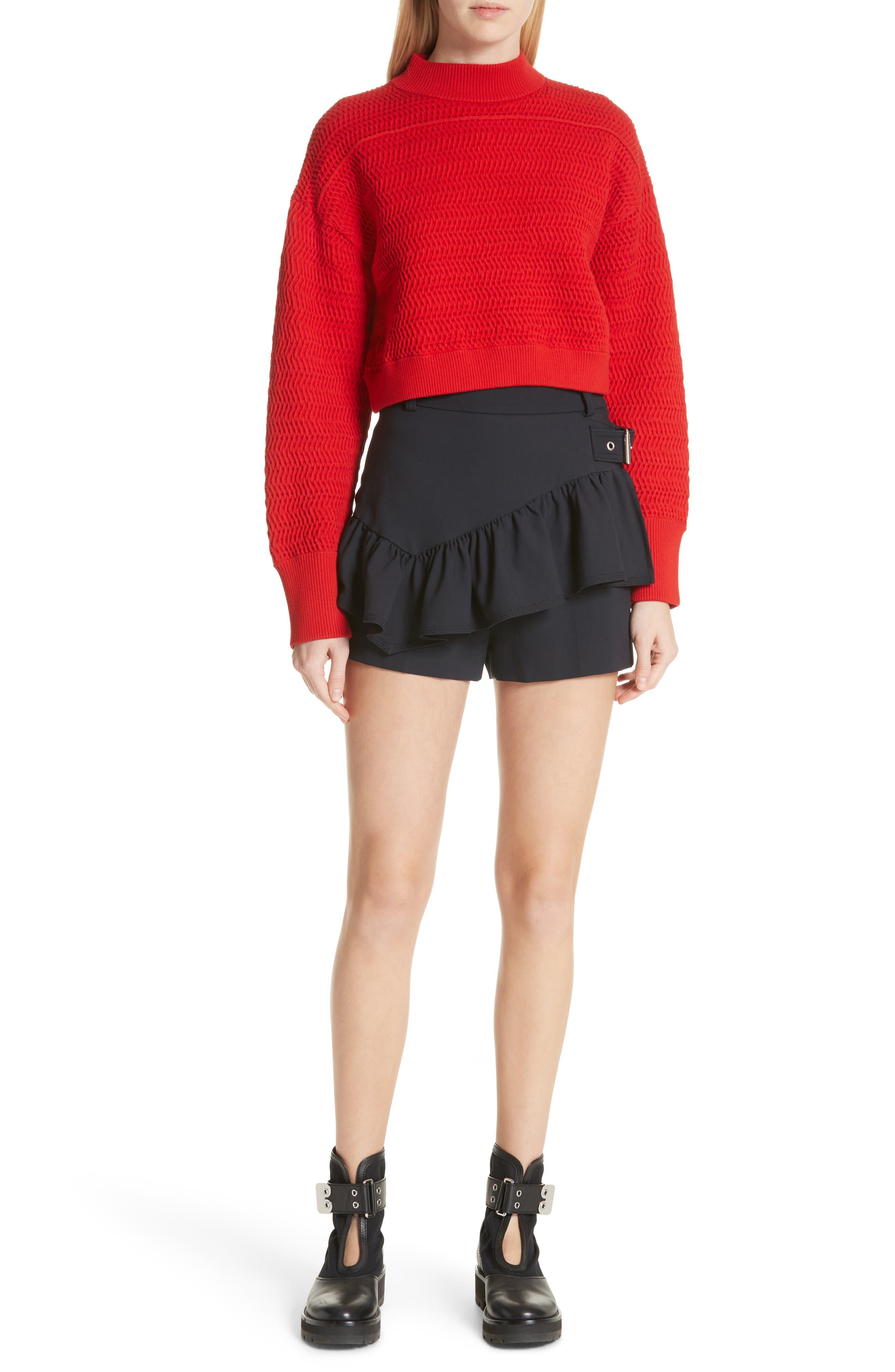 Faux Plait Silk Blend Crop Sweater,                             Alternate thumbnail 7, color,                             620