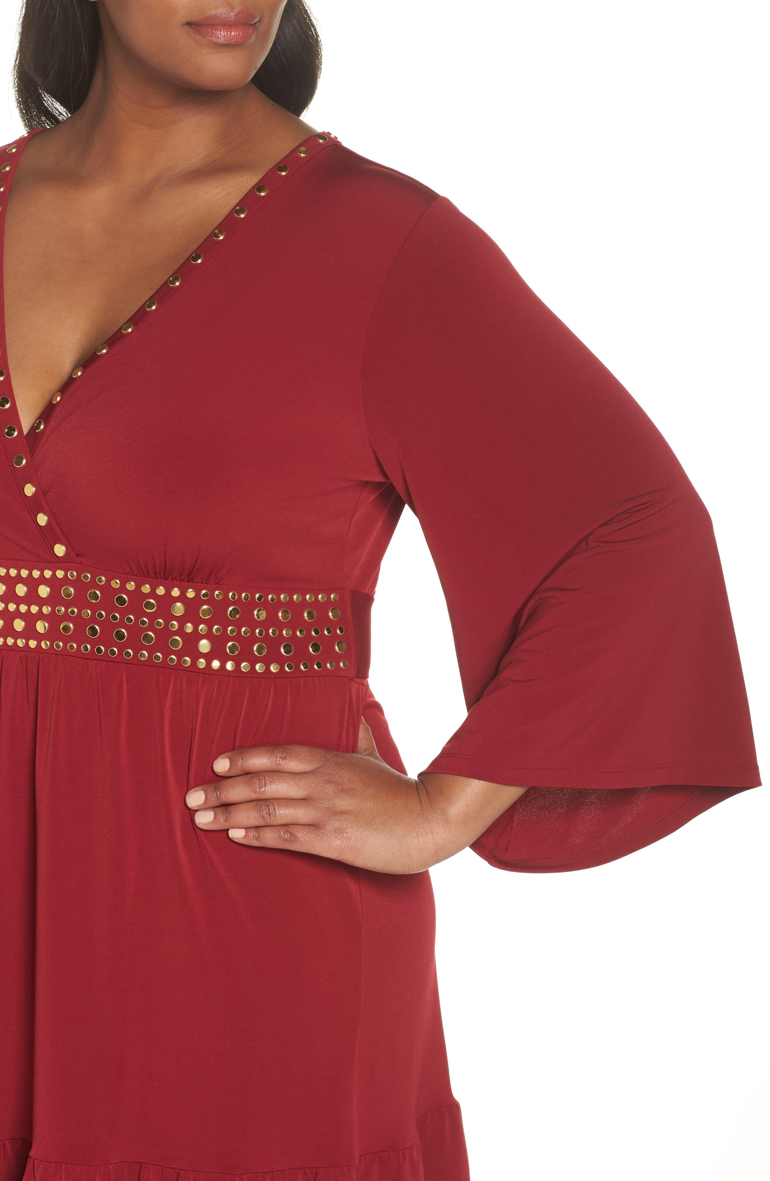 Studded V-Neck Dress,                             Alternate thumbnail 4, color,                             MAROON
