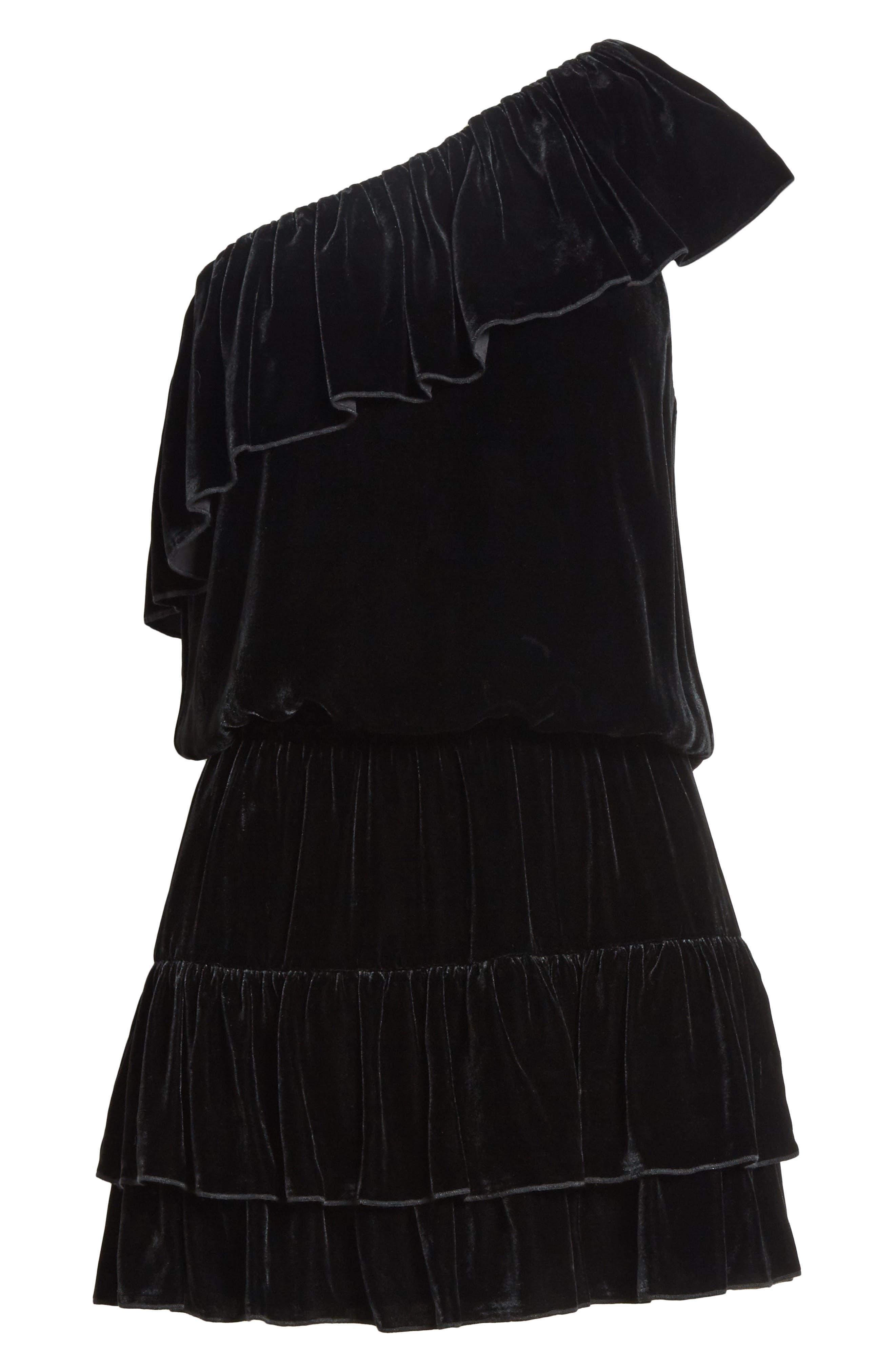 Kolda B One-Shoulder Velvet Dress,                             Alternate thumbnail 6, color,                             002