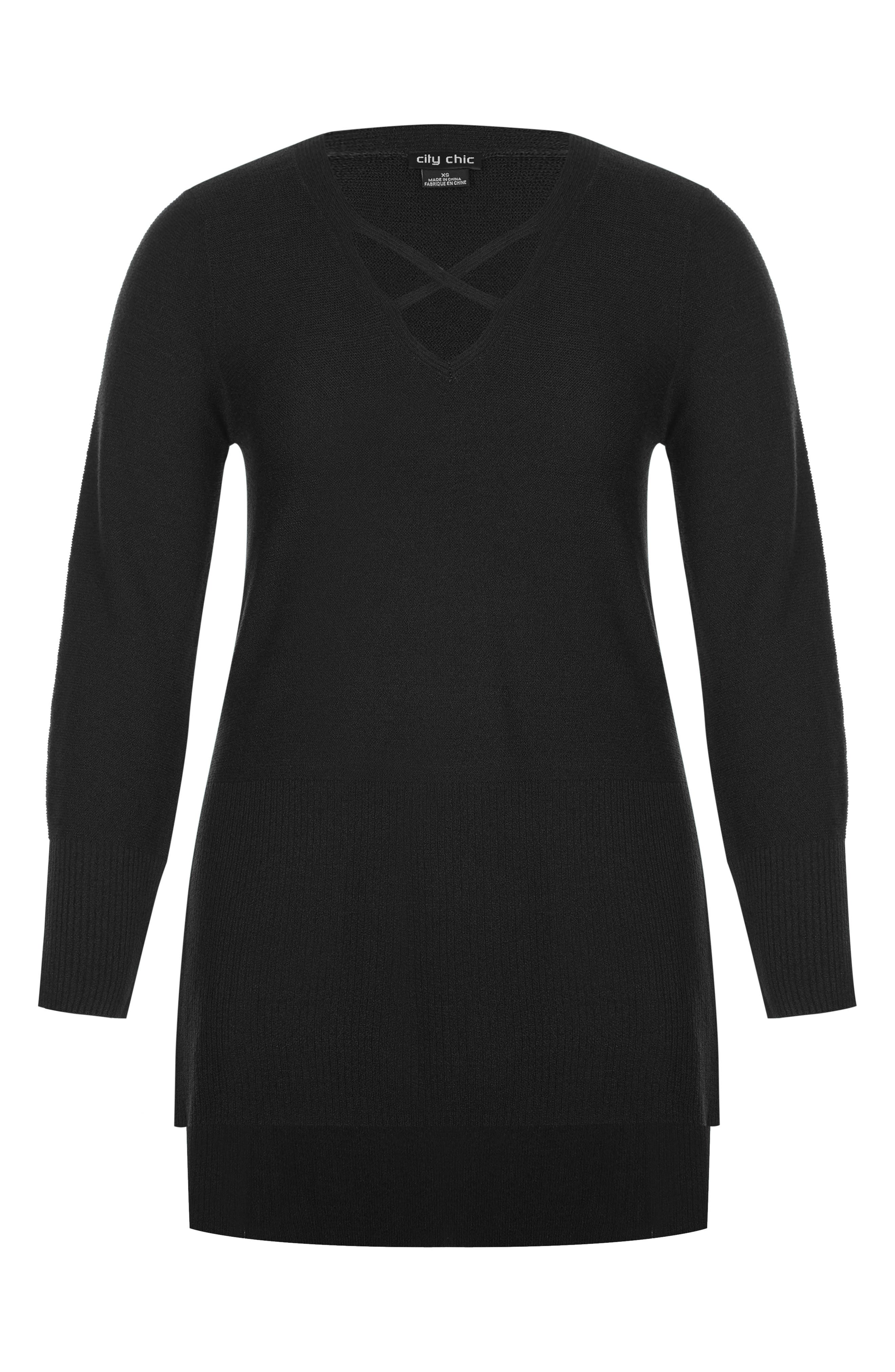 Crisscross Neck Sweater,                             Alternate thumbnail 3, color,                             BLACK