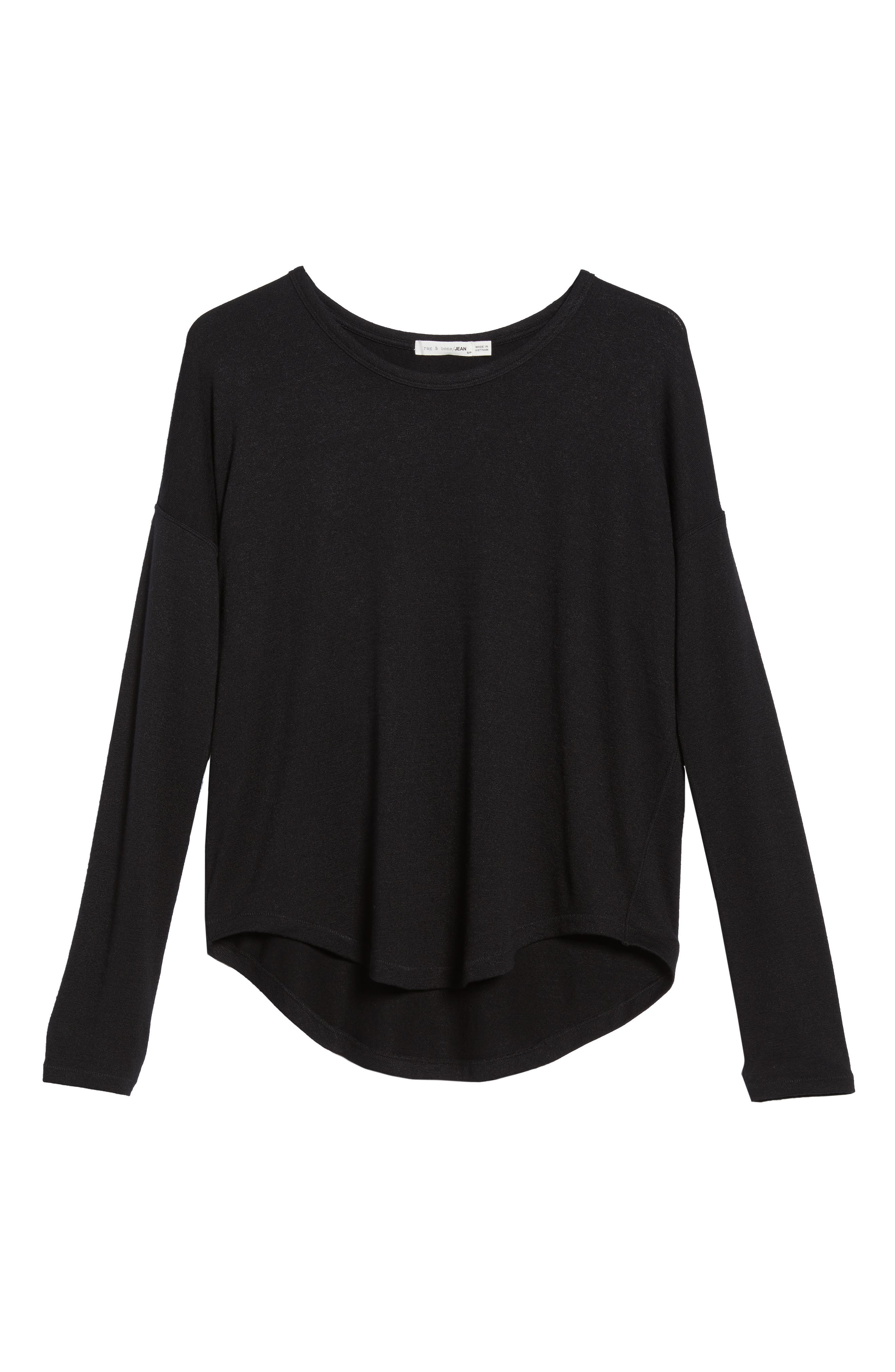 rag & bone Hudson Tee,                             Alternate thumbnail 6, color,                             BLACK