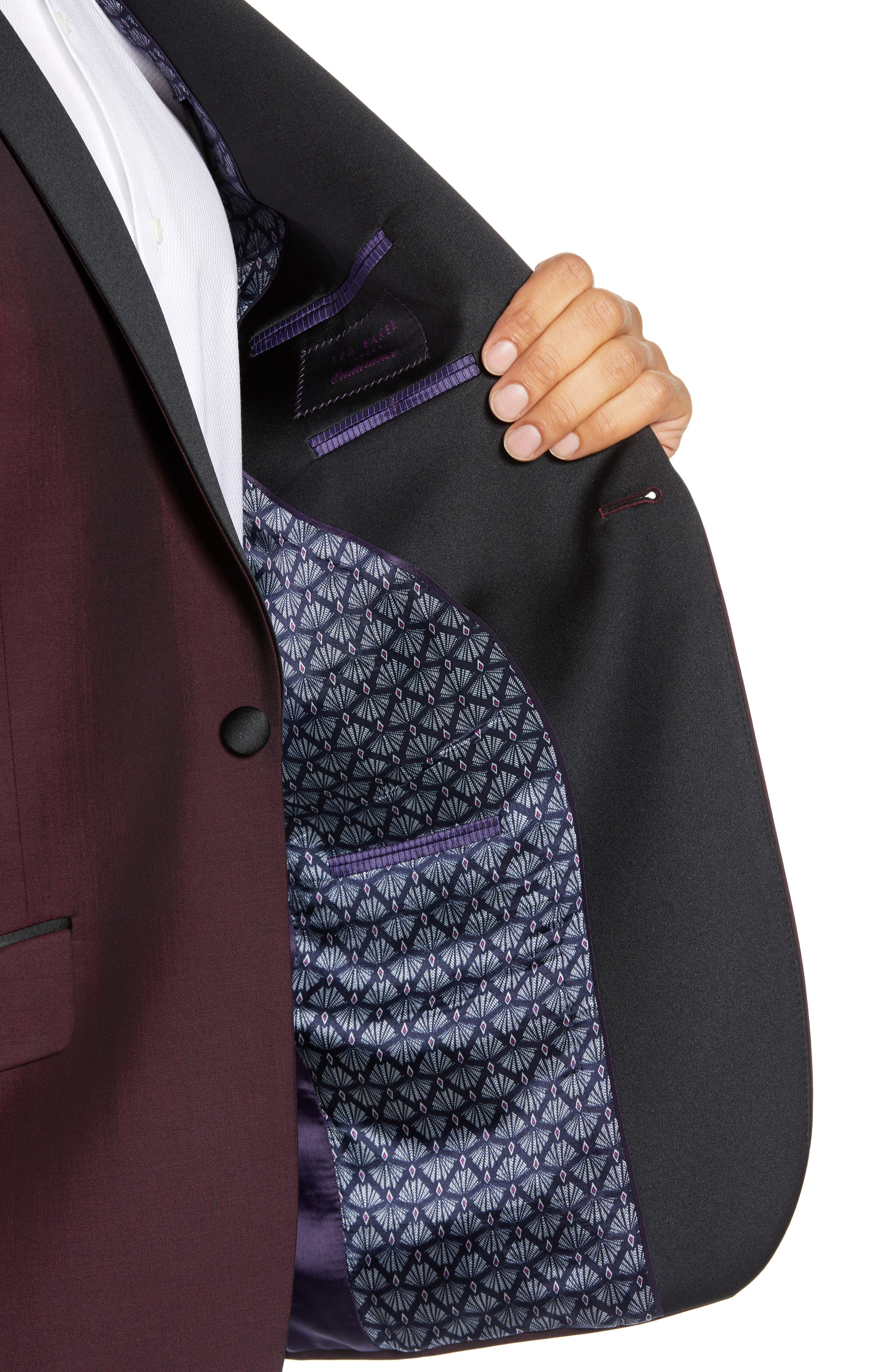 Josh Trim Fit Wool & Mohair Dinner Jacket,                             Alternate thumbnail 4, color,                             BERRY