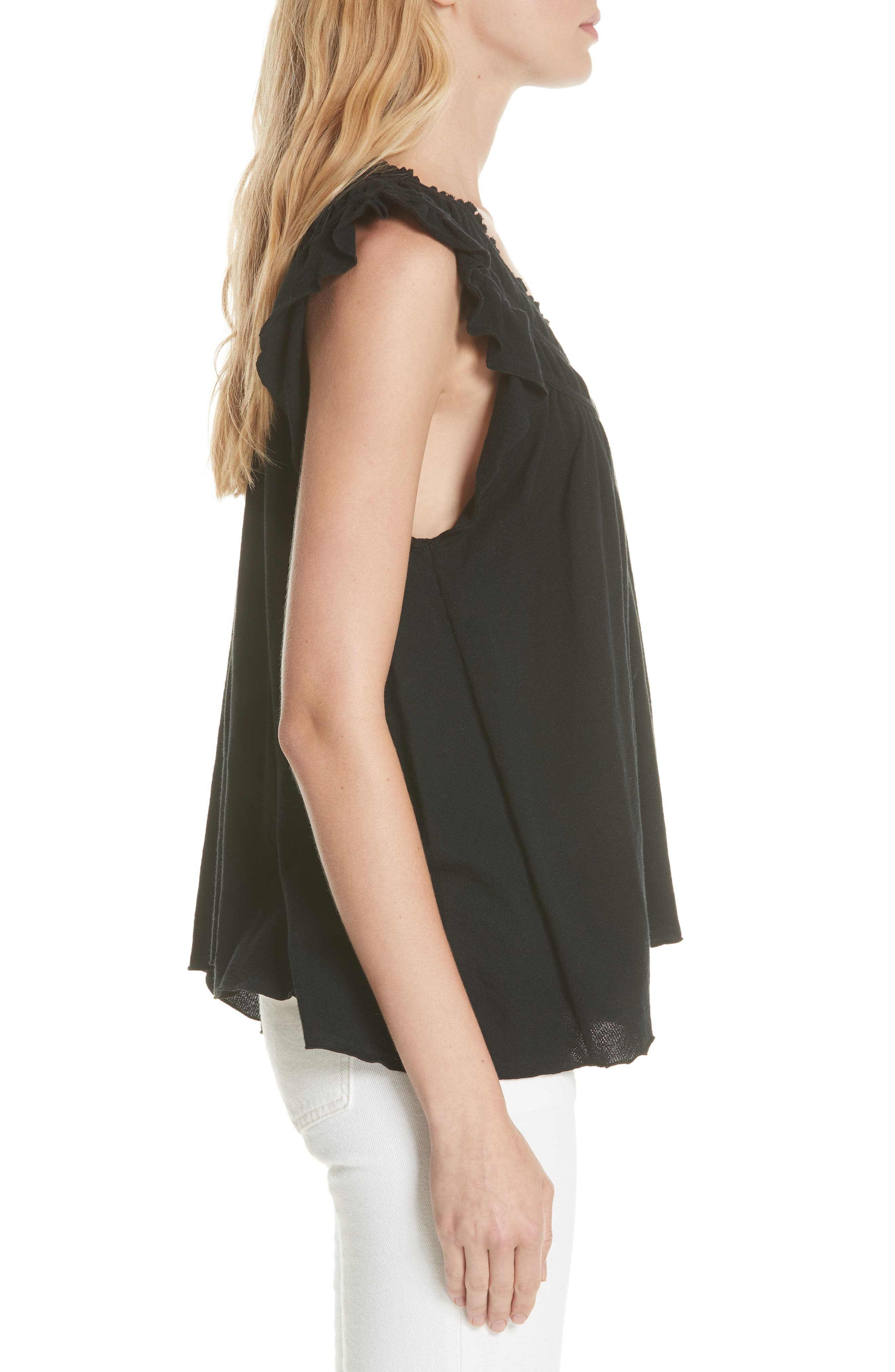 We the Free by Free People Coconut Gathered Top,                             Alternate thumbnail 3, color,                             BLACK