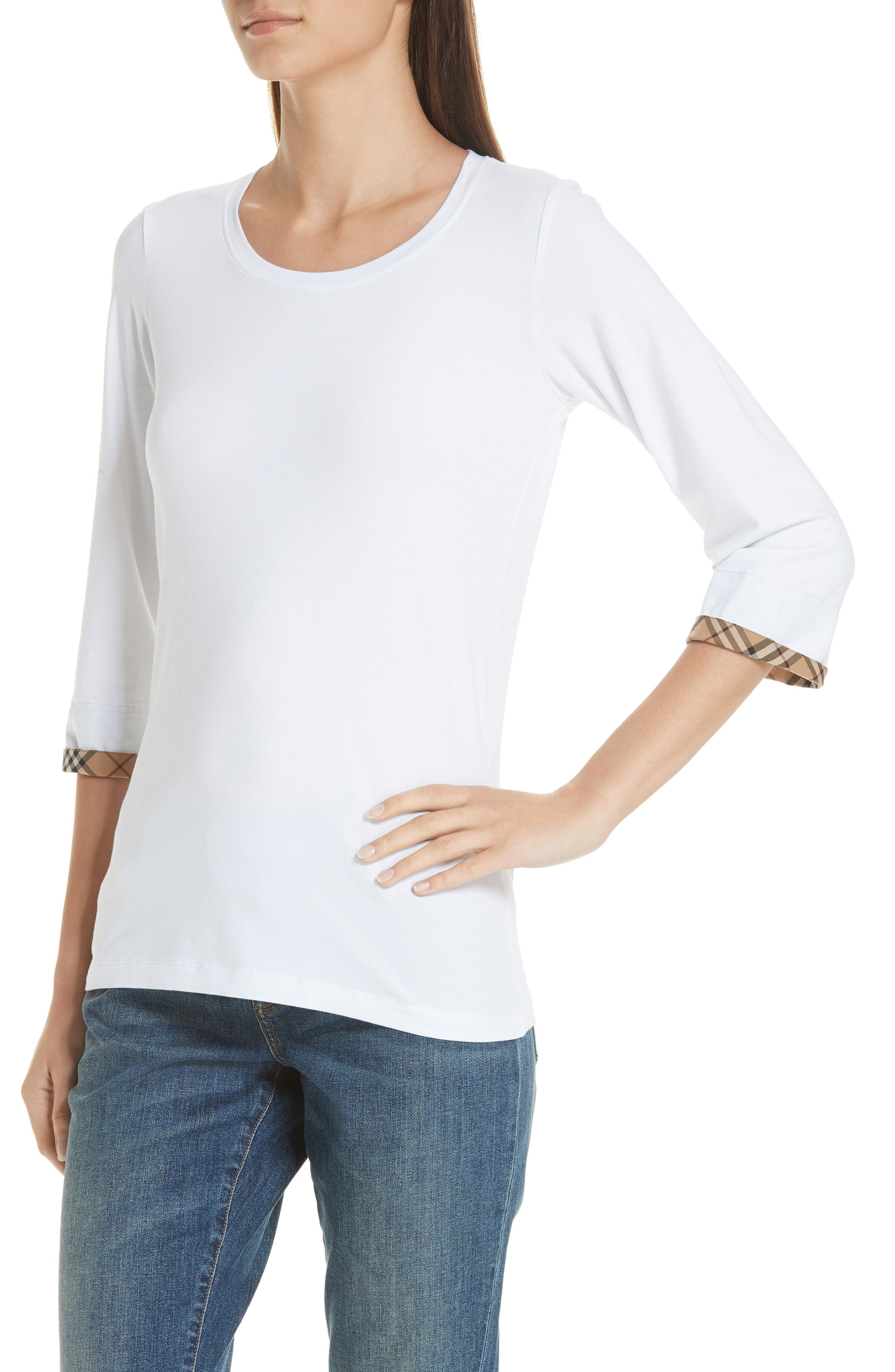 Lohit Check Cuff Stretch Cotton Tee,                             Alternate thumbnail 4, color,                             100