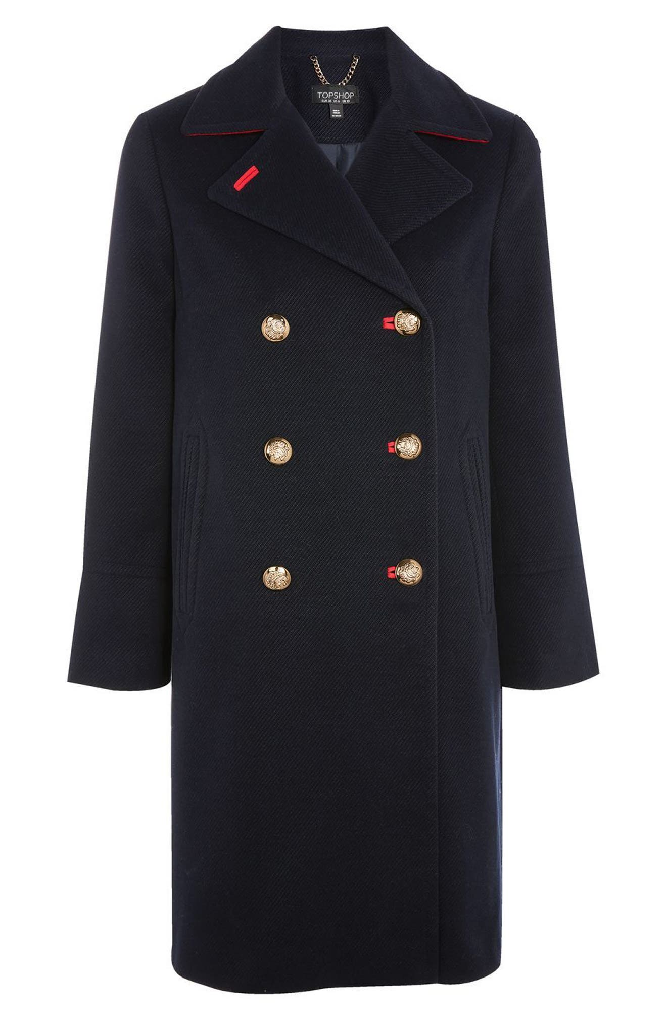 Twill Peacoat,                             Alternate thumbnail 8, color,