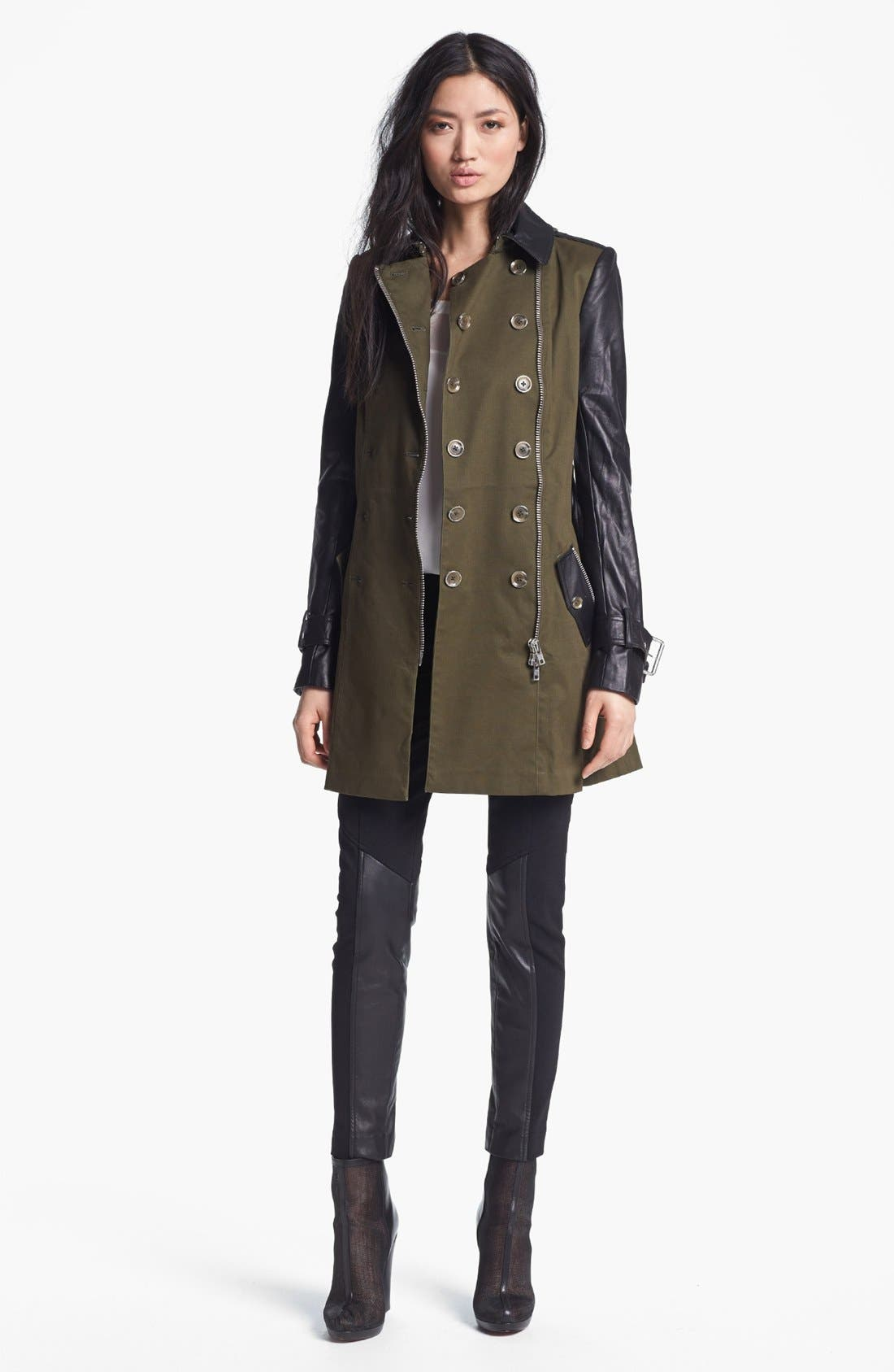 RACHEL ZOE,                             Belted Double Breasted Trench Coat,                             Alternate thumbnail 3, color,                             340