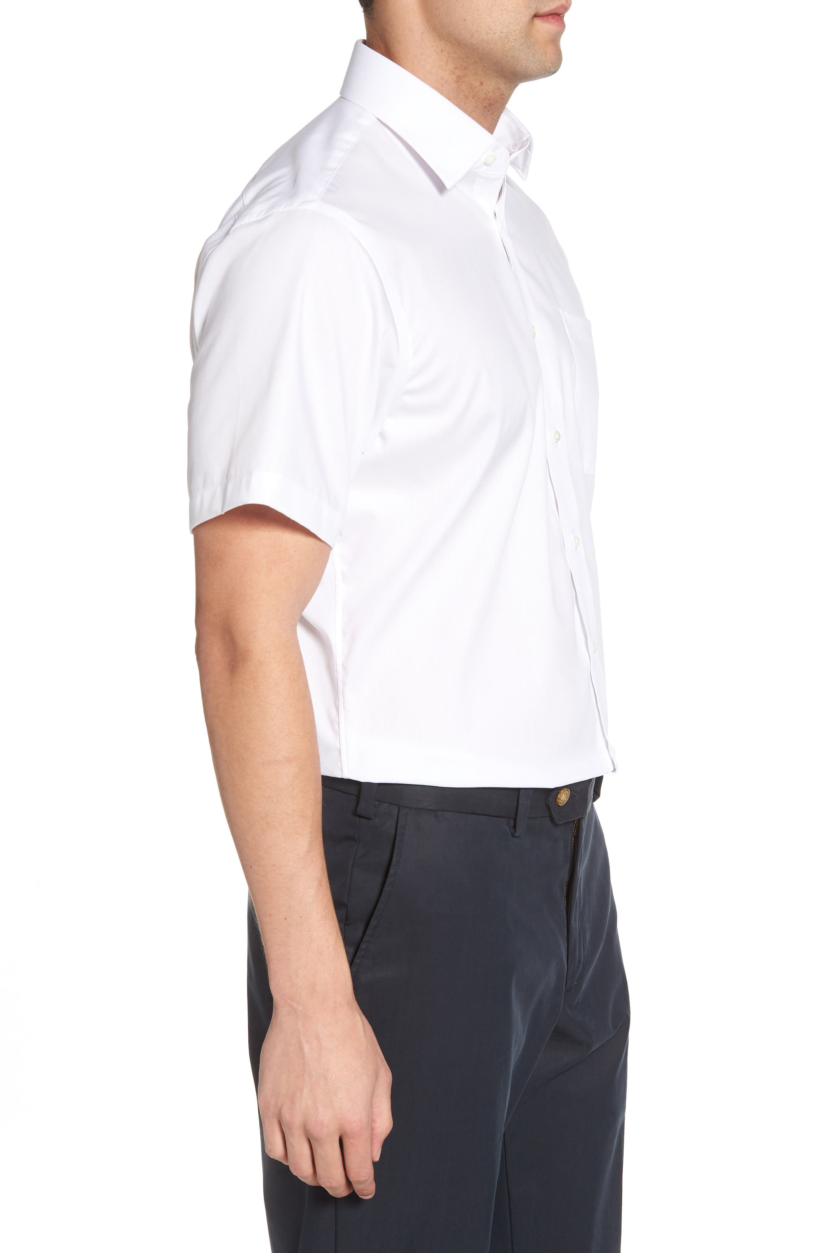 Traditional Fit Non-Iron Solid Short Sleeve Dress Shirt,                             Alternate thumbnail 4, color,                             WHITE