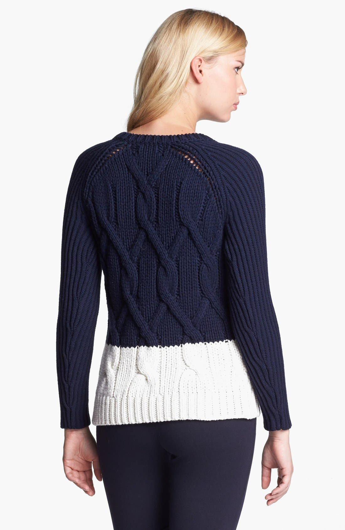 Zip Shoulder Colorblock Cable Sweater,                             Alternate thumbnail 3, color,                             103