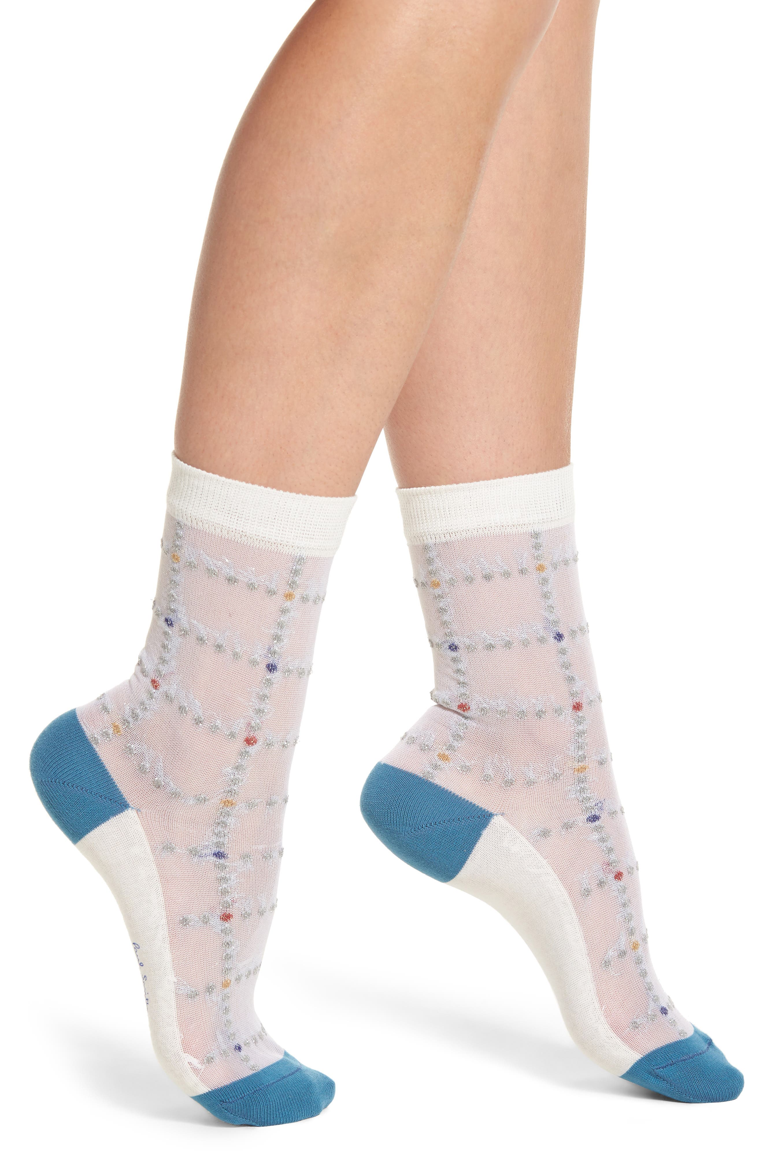 Erin Check Ankle Socks,                             Main thumbnail 1, color,