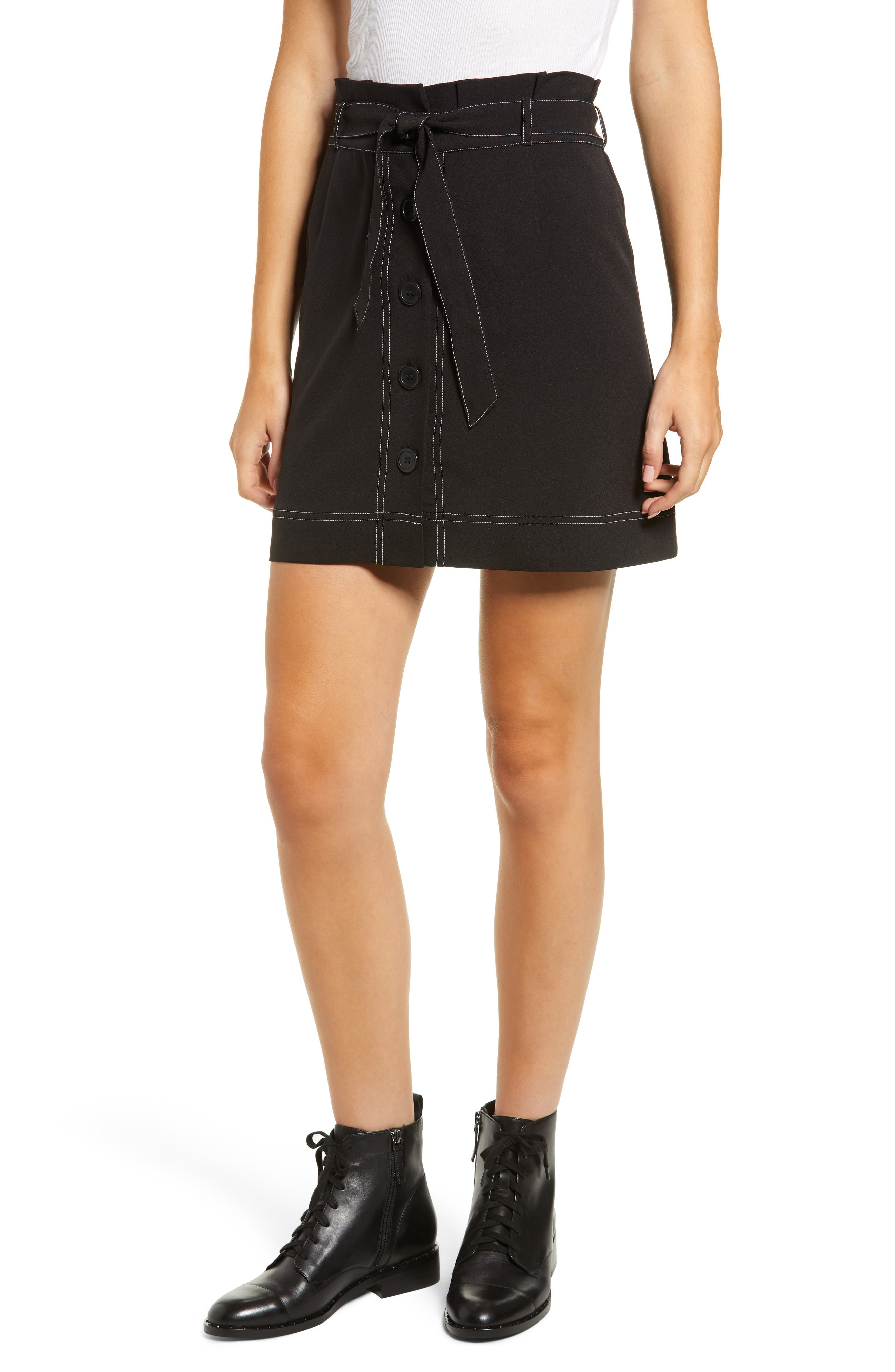 LOVE, FIRE Button Front Skirt in Black