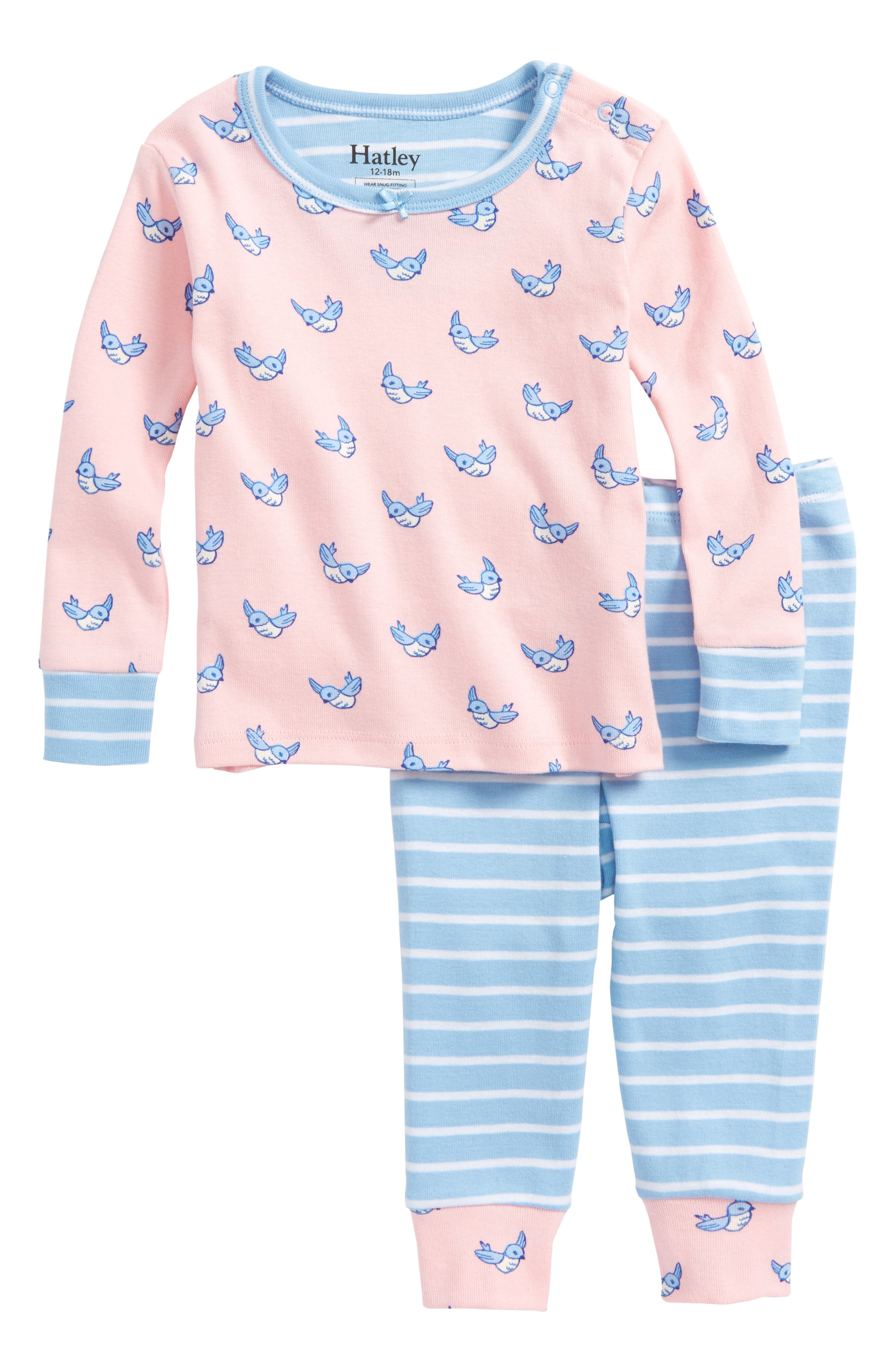Fluttering Birds Organic Cotton Fitted Two-Piece Pajamas,                             Main thumbnail 1, color,
