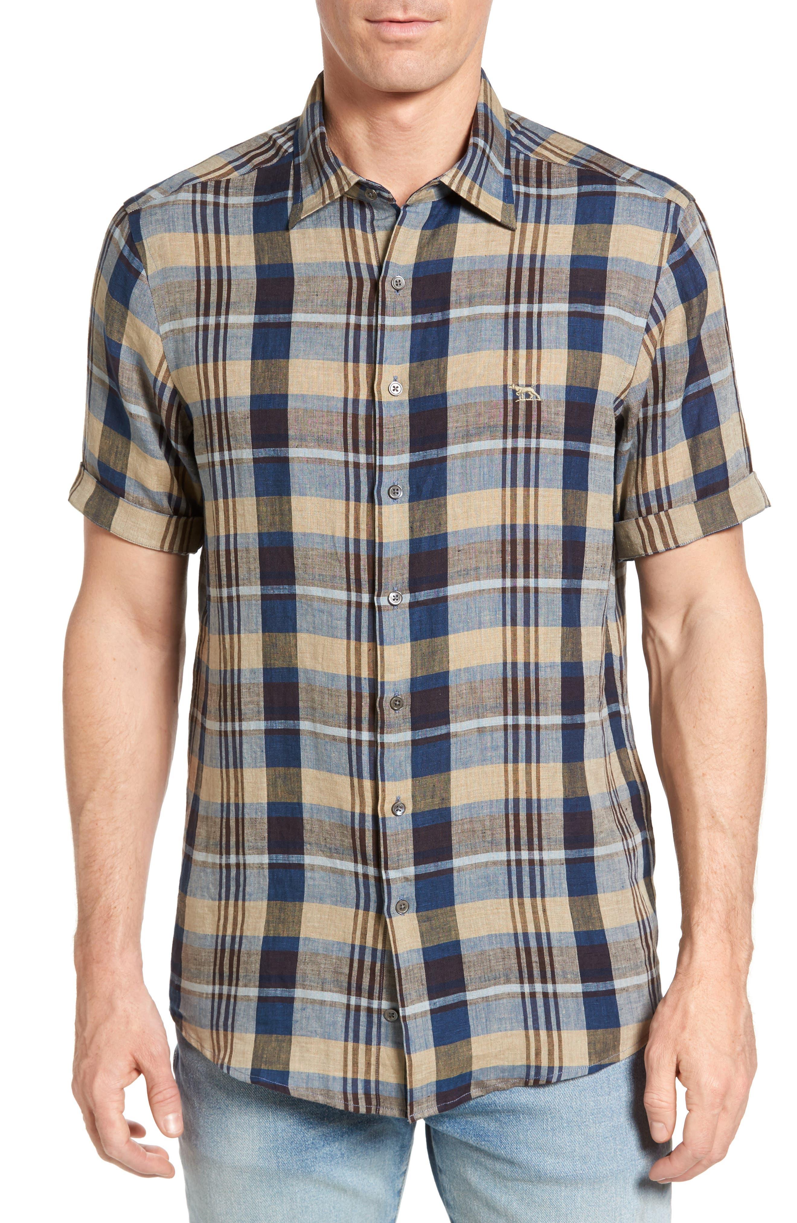 Pavillion Plaid Linen Sport Shirt,                         Main,                         color, 231