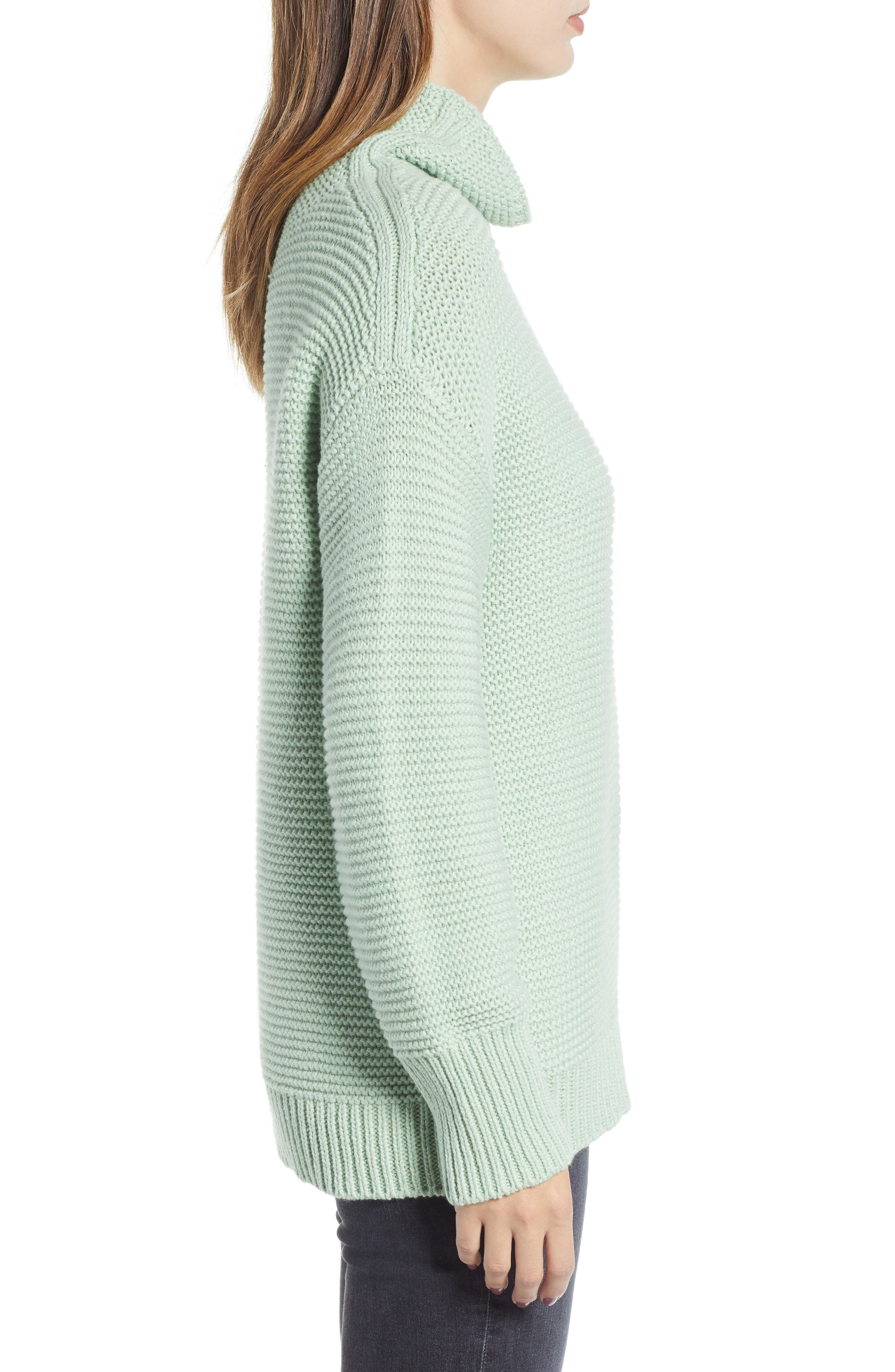 Turtleneck Sweater,                             Alternate thumbnail 3, color,                             GREEN GHOST