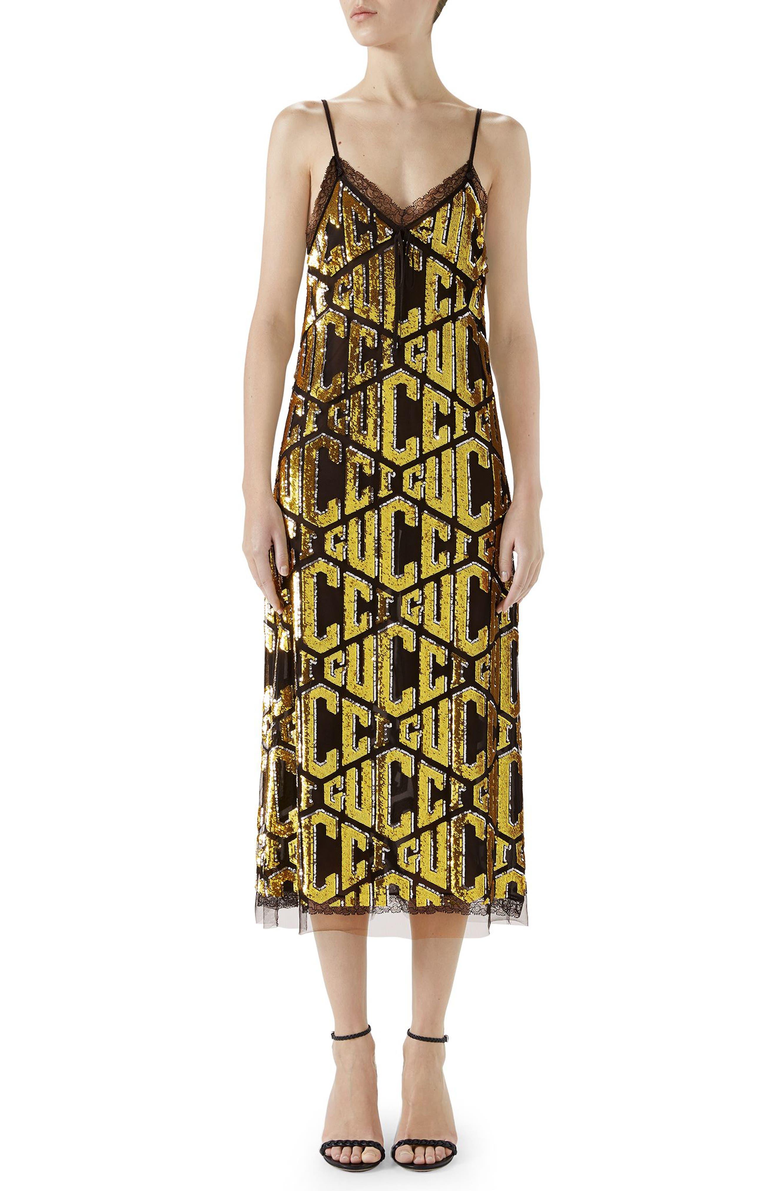 Lace Trim Sequin Logo Slipdress,                             Main thumbnail 1, color,                             BLACK