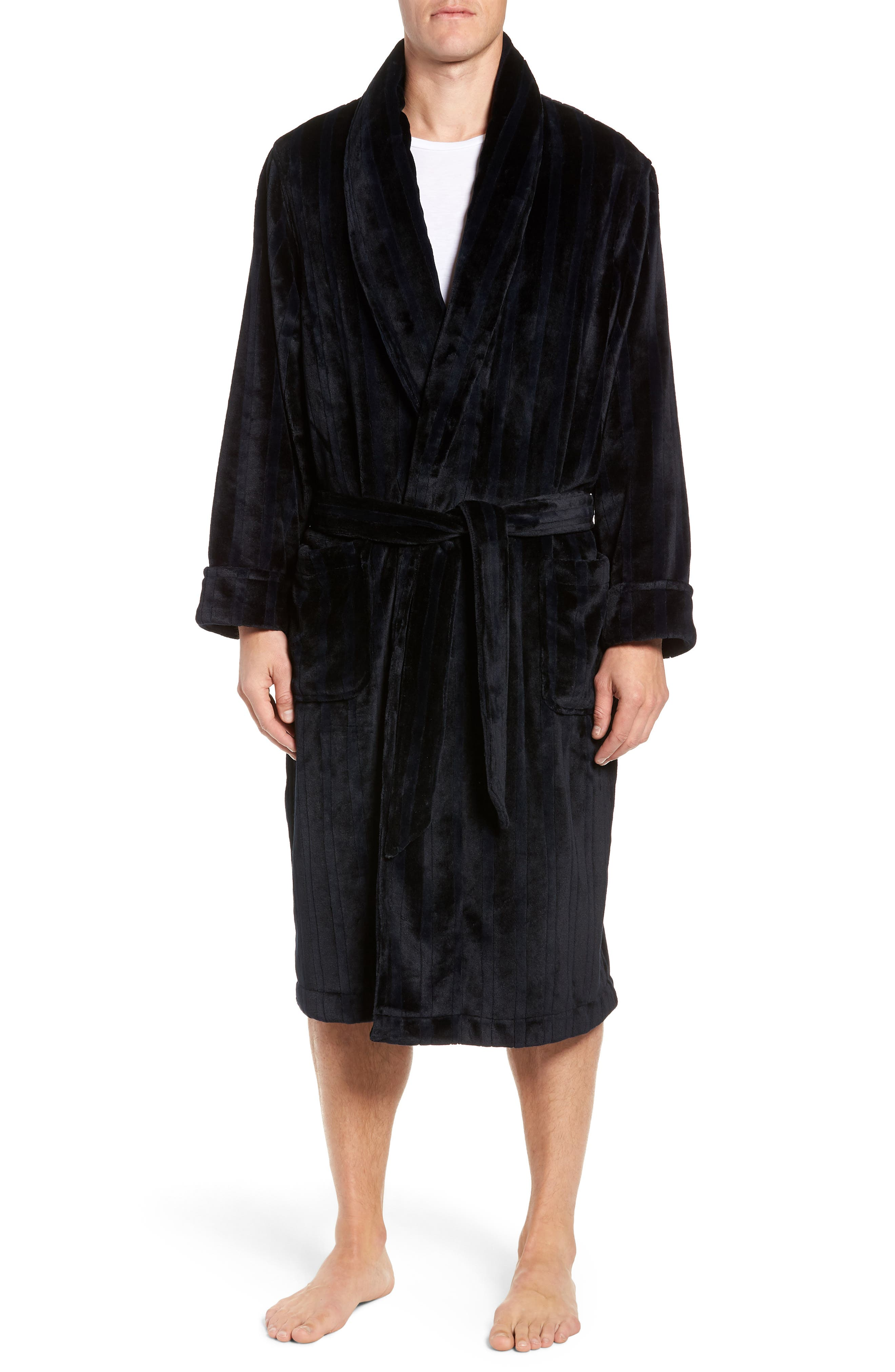 Vertical Stripe Fleece Robe,                             Main thumbnail 1, color,                             BLACK VERTICAL TONAL STRIPE