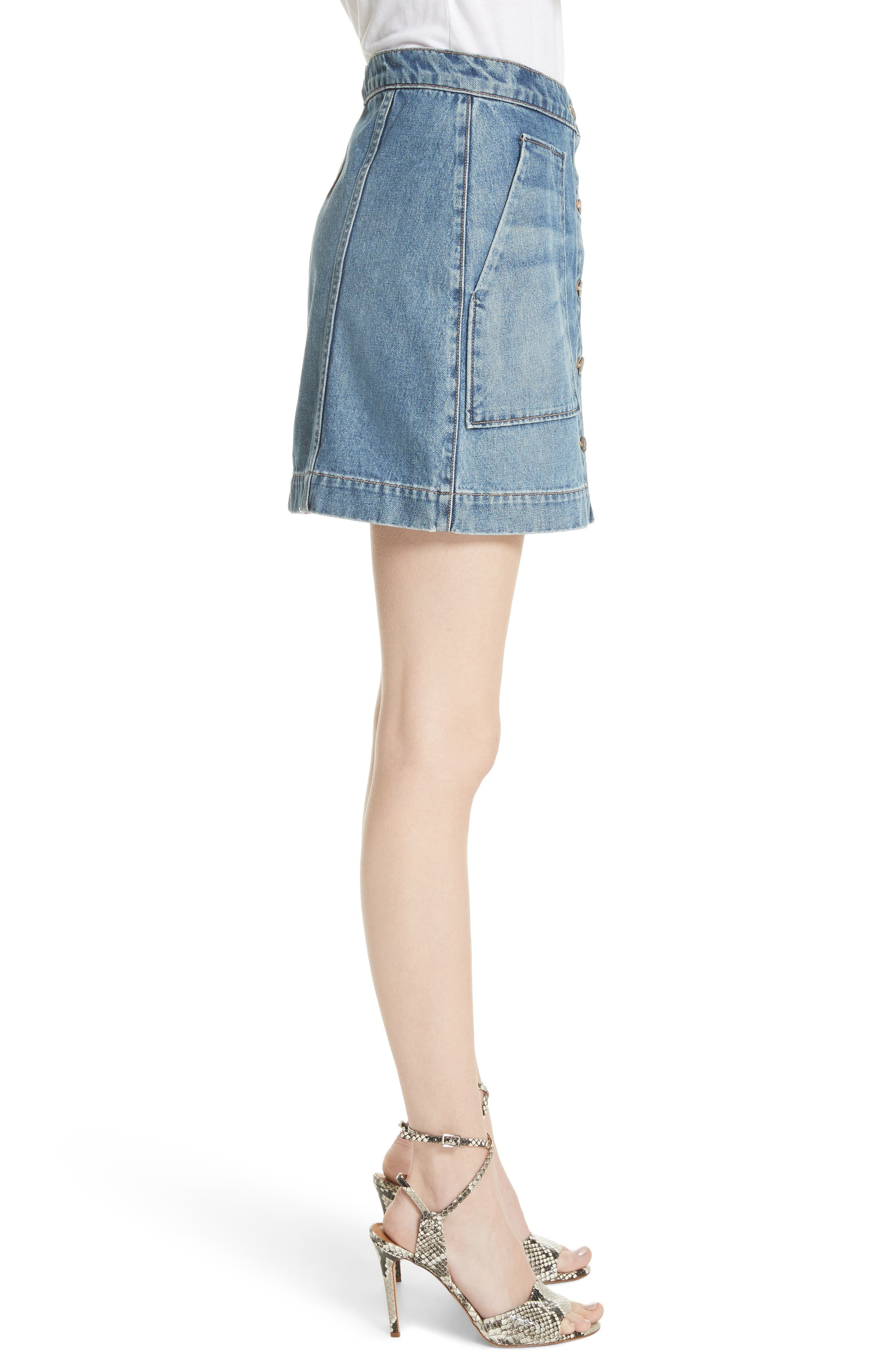 VERONICA BEARD,                             Getty Denim Skirt,                             Alternate thumbnail 3, color,                             499