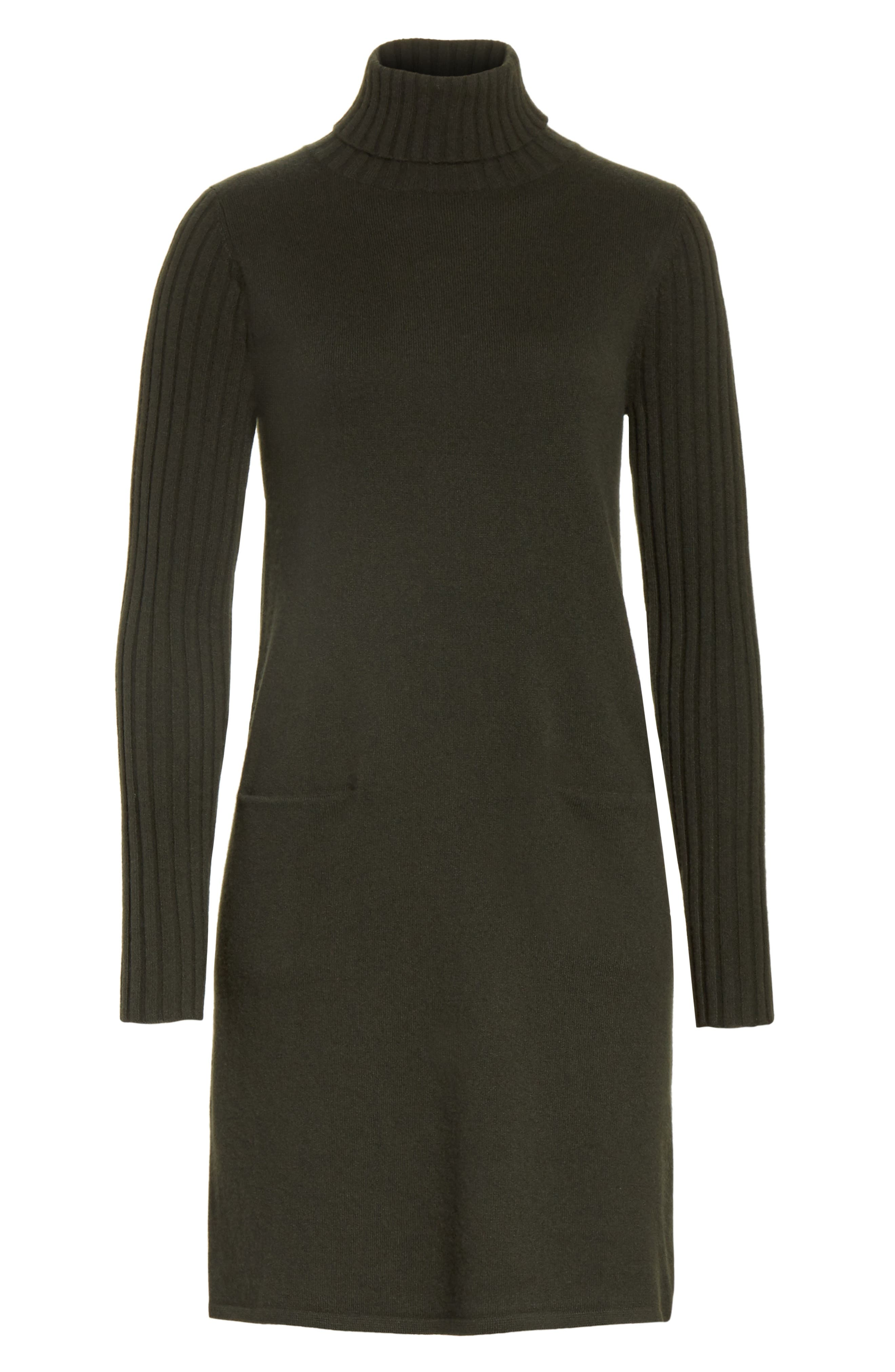 Cashmere Turtleneck Sweater Dress,                             Alternate thumbnail 6, color,                             300
