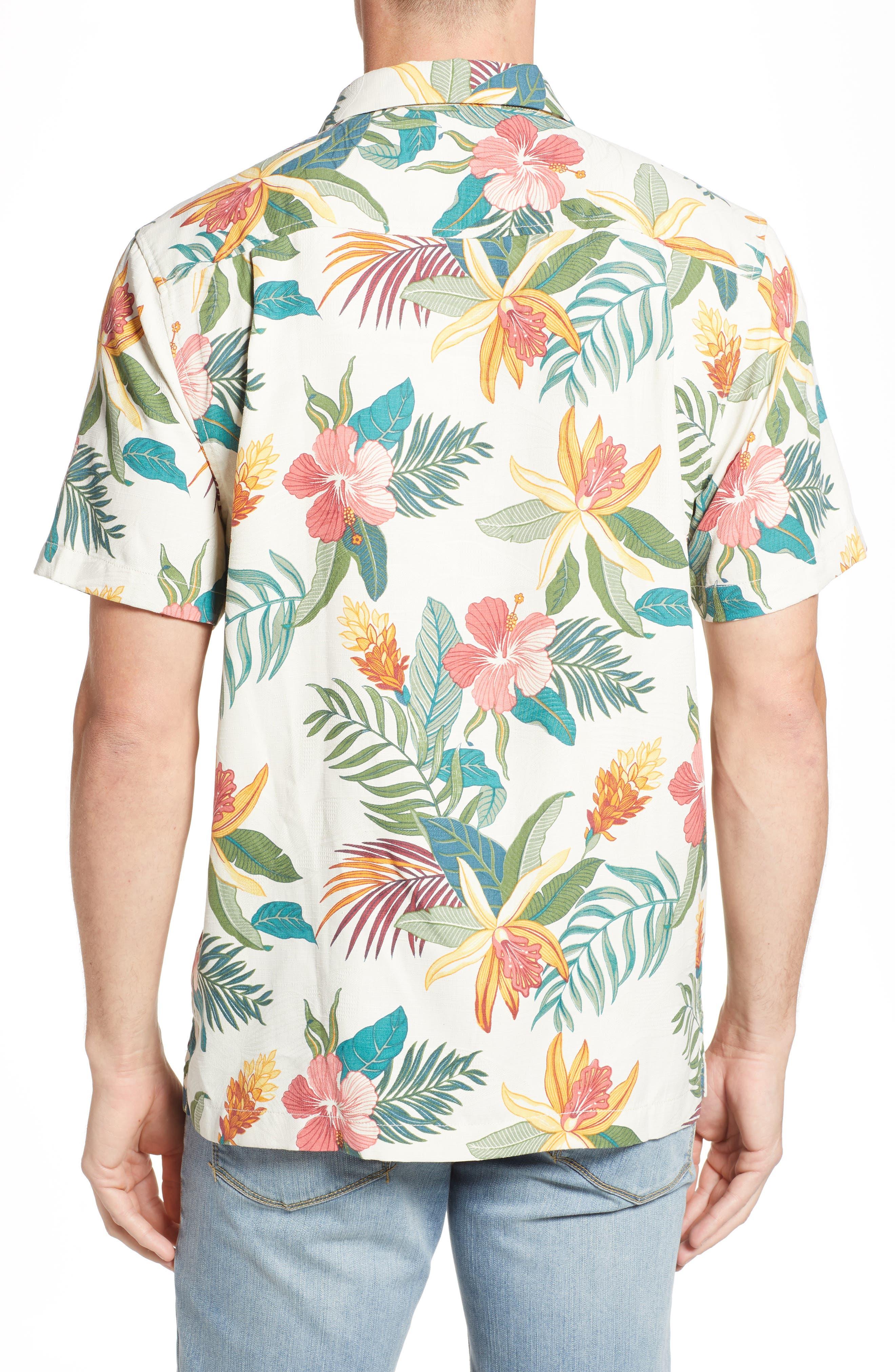 Beach Crest Blooms Short Sleeve Silk Blend Sport Shirt,                             Alternate thumbnail 2, color,                             CONTINENTAL