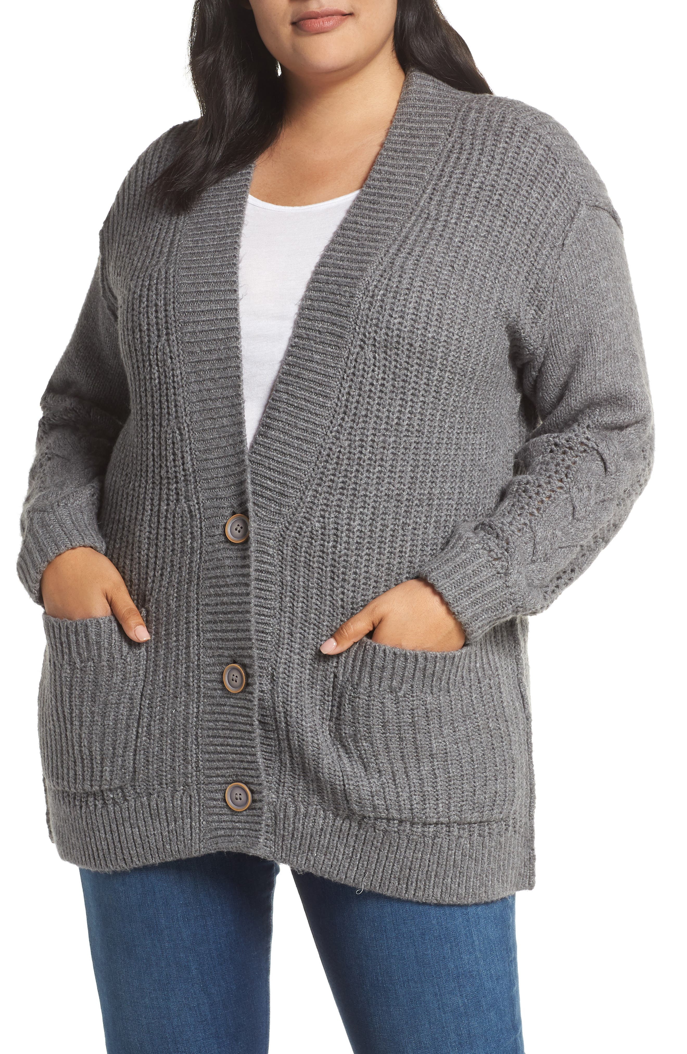 Plus Size Caslon Cable Knit Sleeve Cardigan, Grey