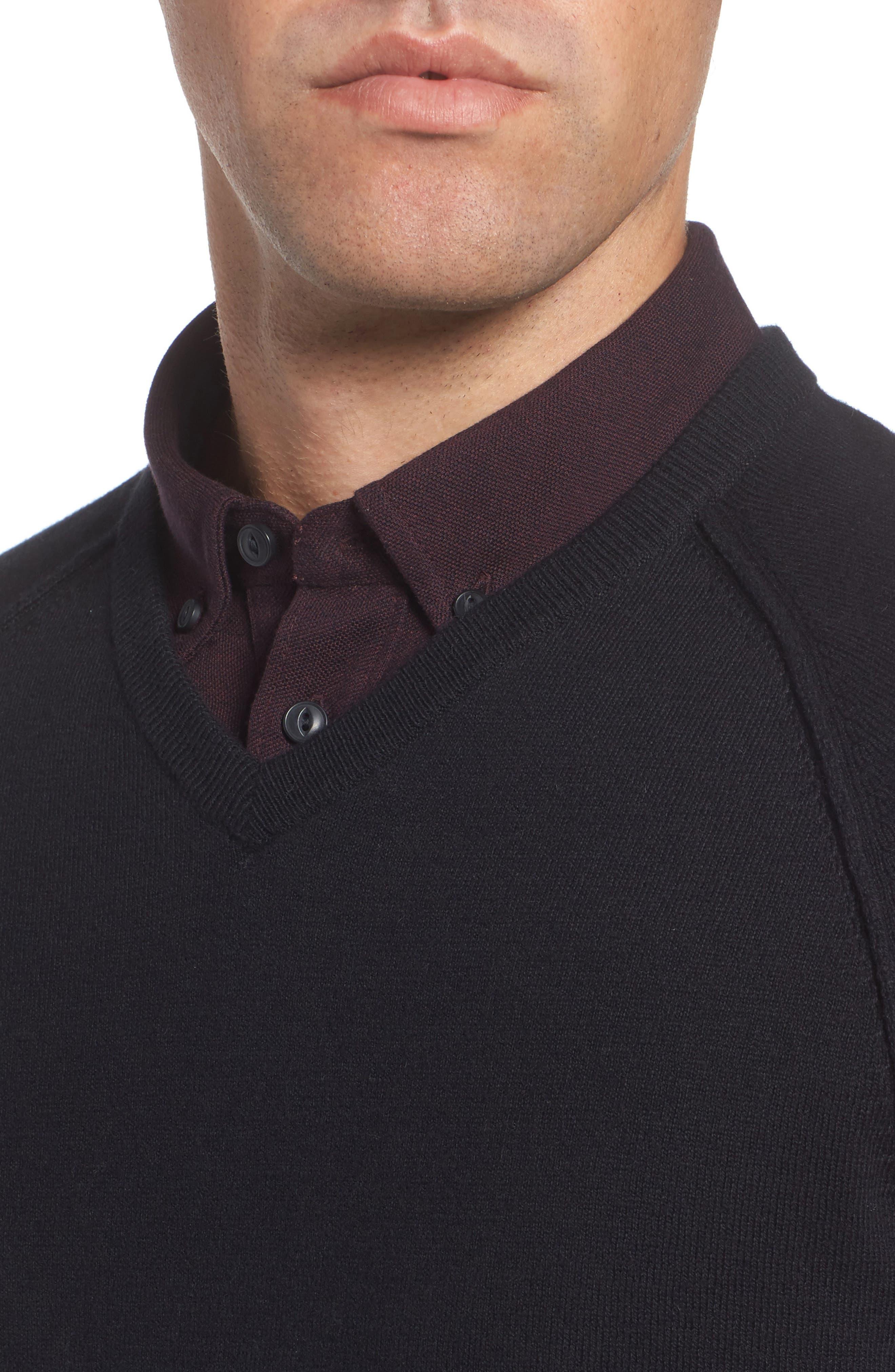 Saddle Shoulder Cotton & Cashmere V-Neck Sweater,                             Alternate thumbnail 25, color,
