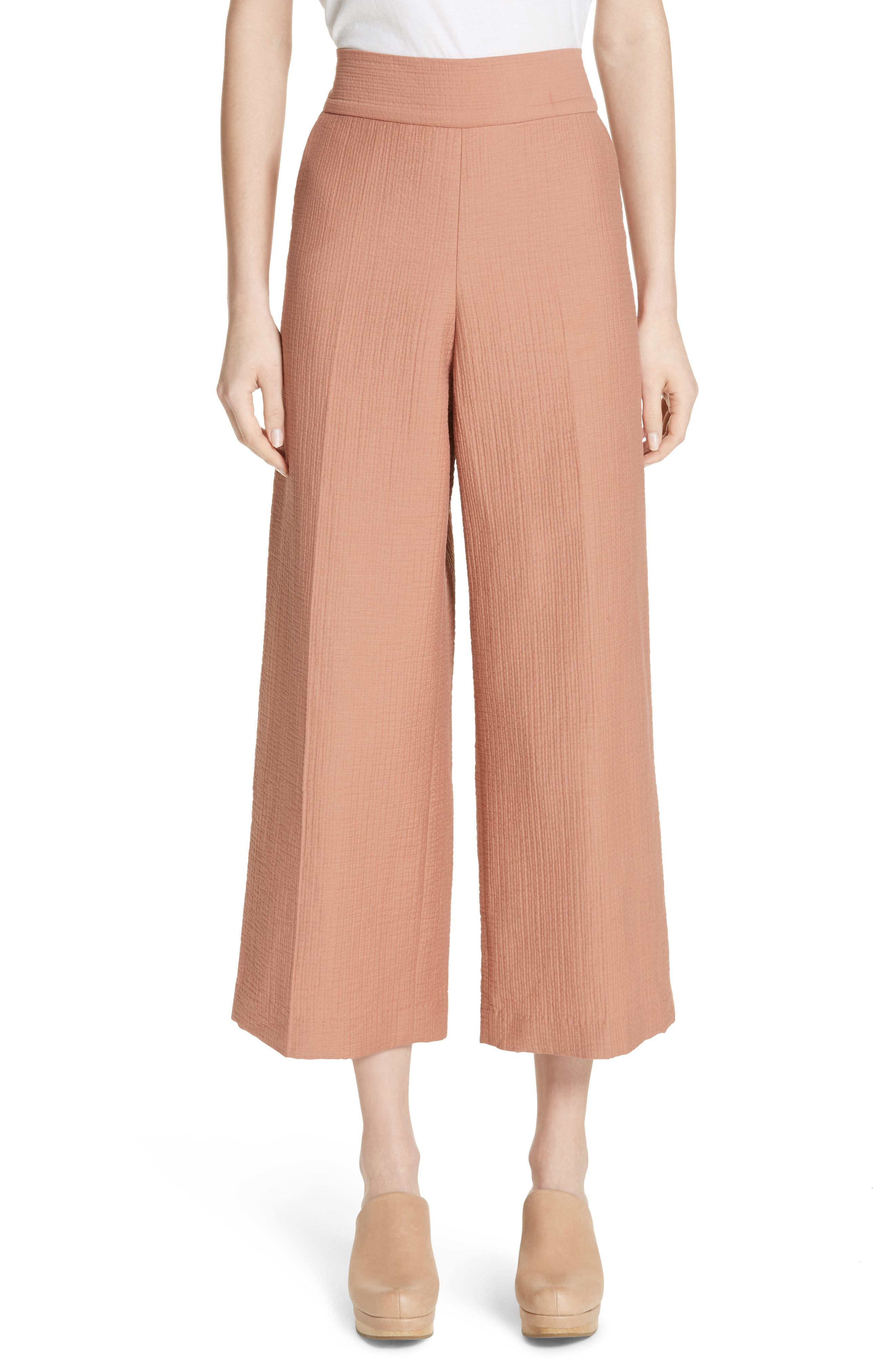 Essence Seersucker Crop Pants,                         Main,                         color, BLUSH
