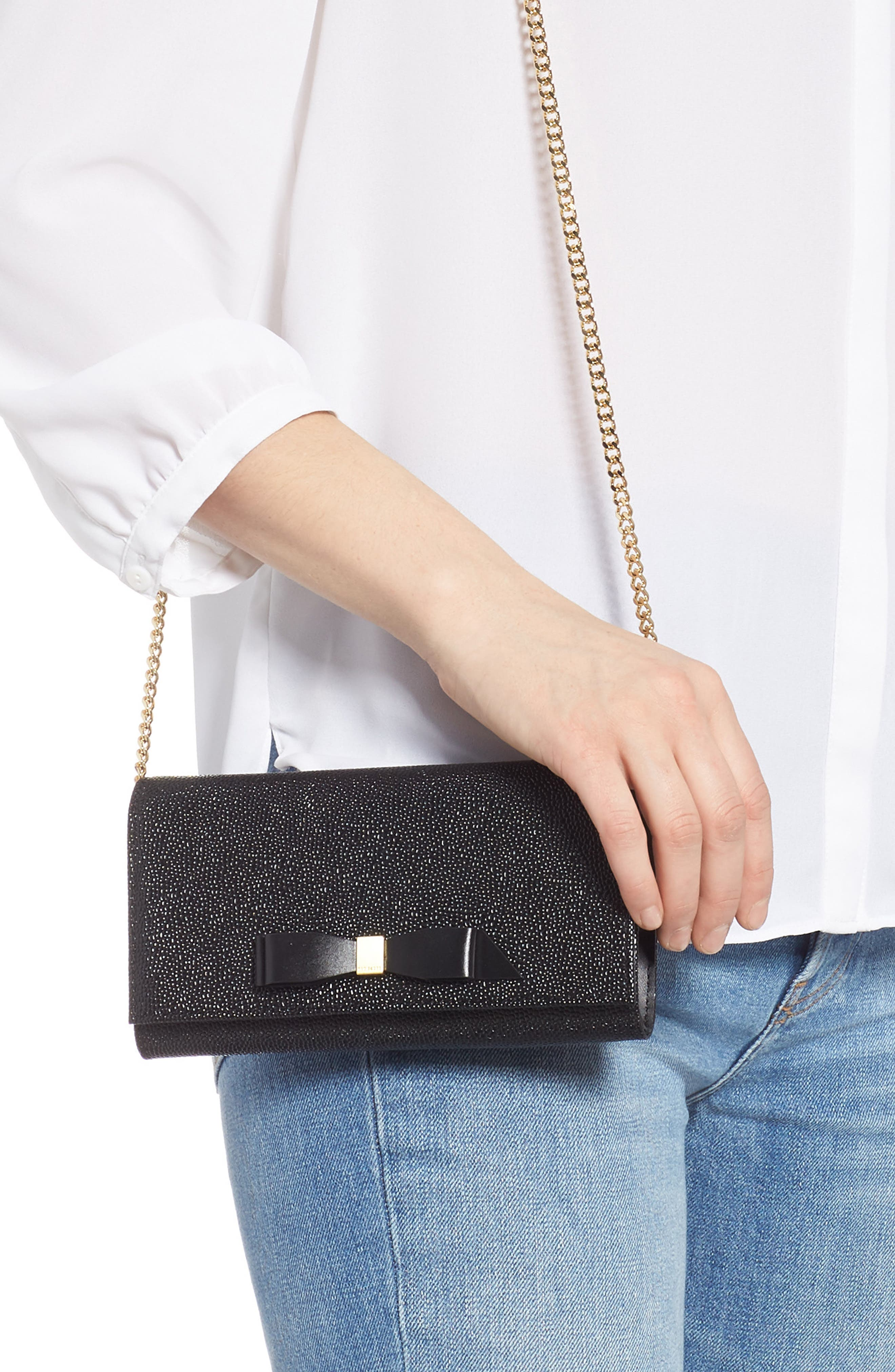 Alaine Crossbody Leather Matinée Wallet on a Chain,                             Alternate thumbnail 2, color,                             BLACK