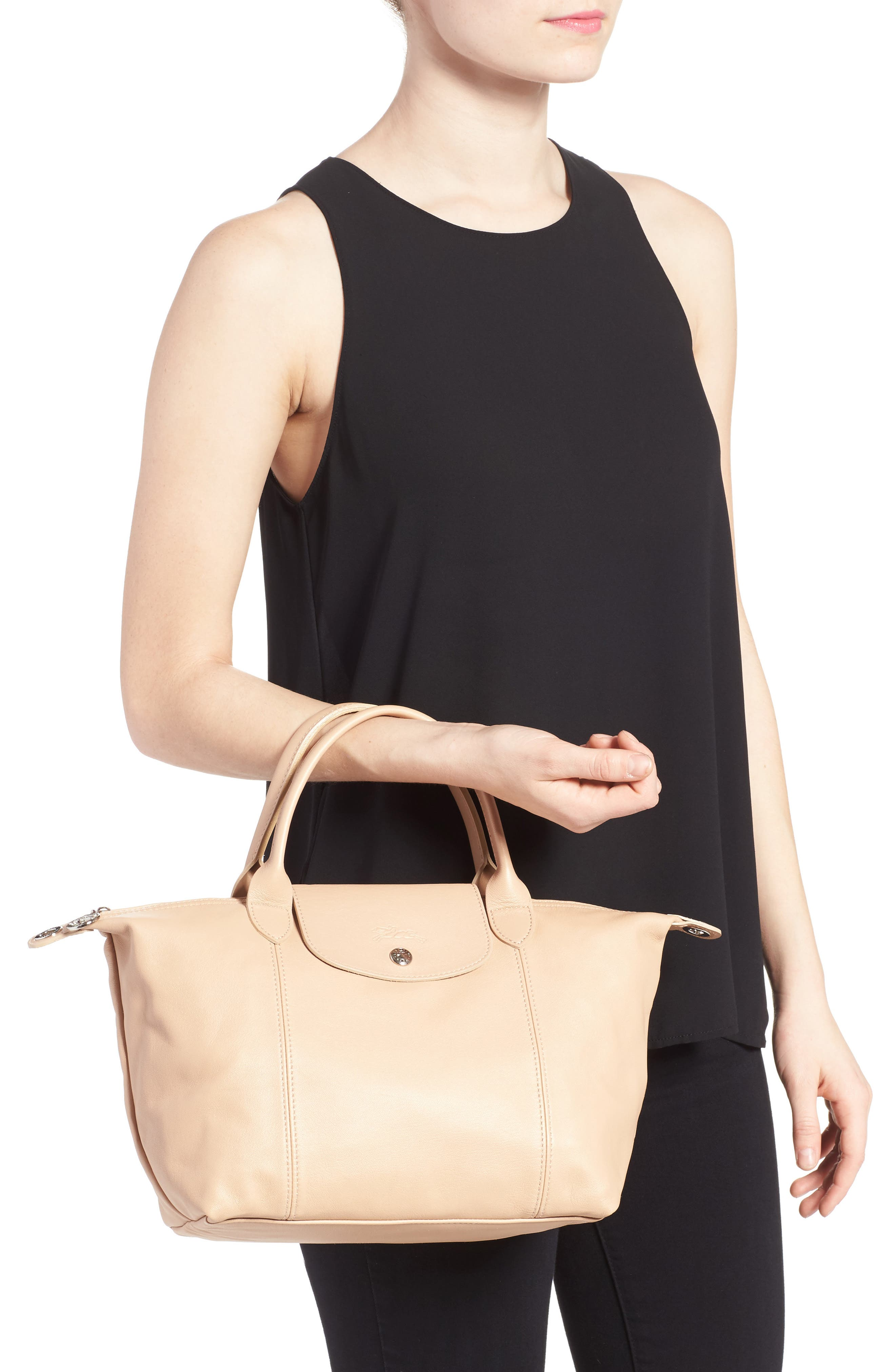 Small 'Le Pliage Cuir' Leather Top Handle Tote,                             Alternate thumbnail 30, color,
