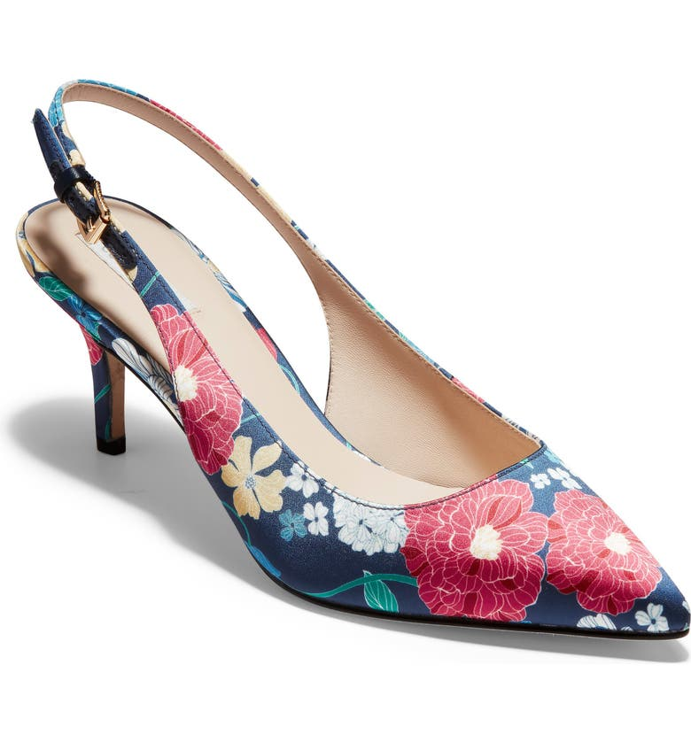 COLE HAAN Vesta Slingback Pump, Main, color, FLORAL PRINT FABRIC