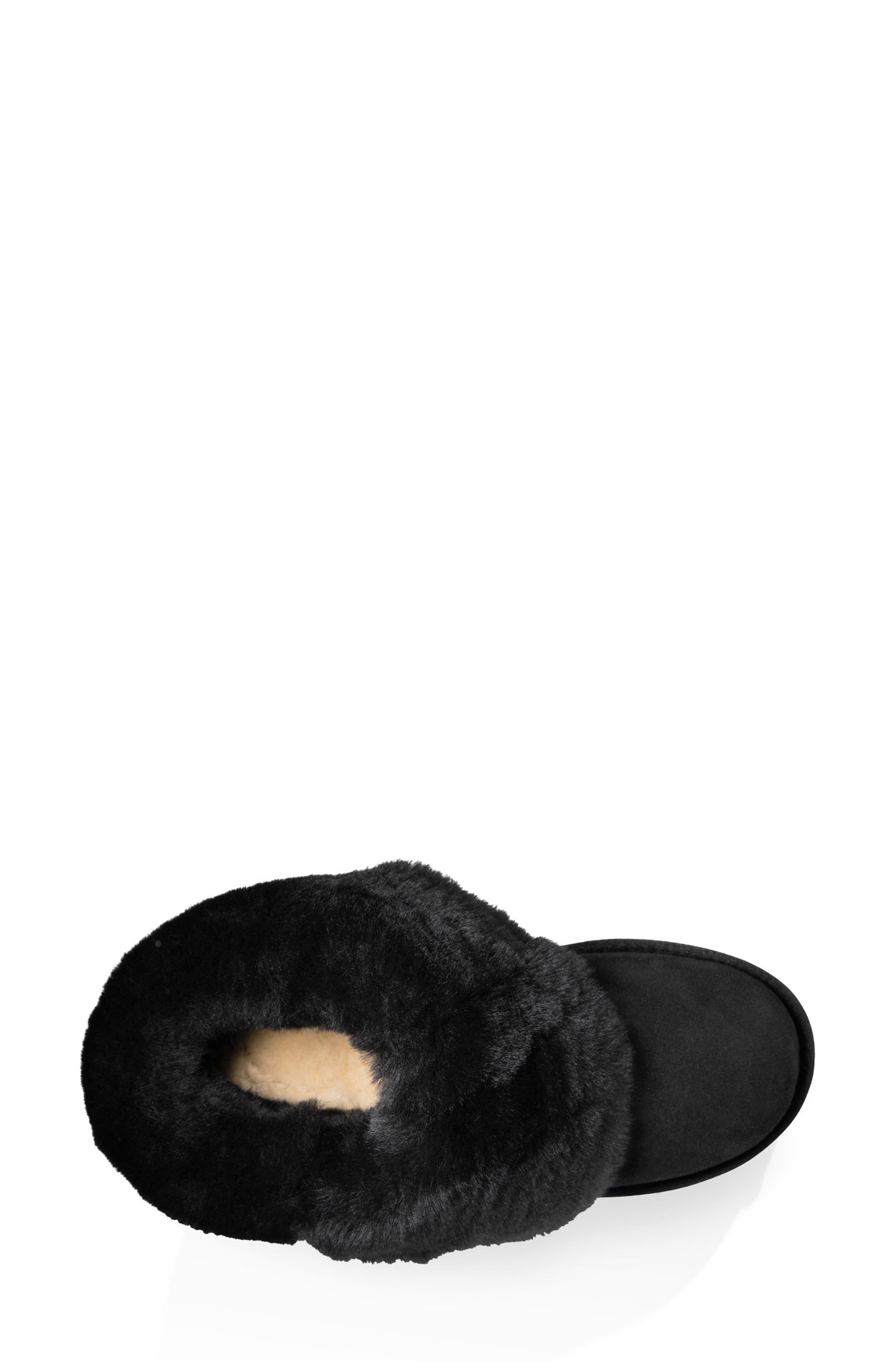 Bailey Button Bling Genuine Shearling Boot,                             Alternate thumbnail 5, color,                             BLACK SUEDE