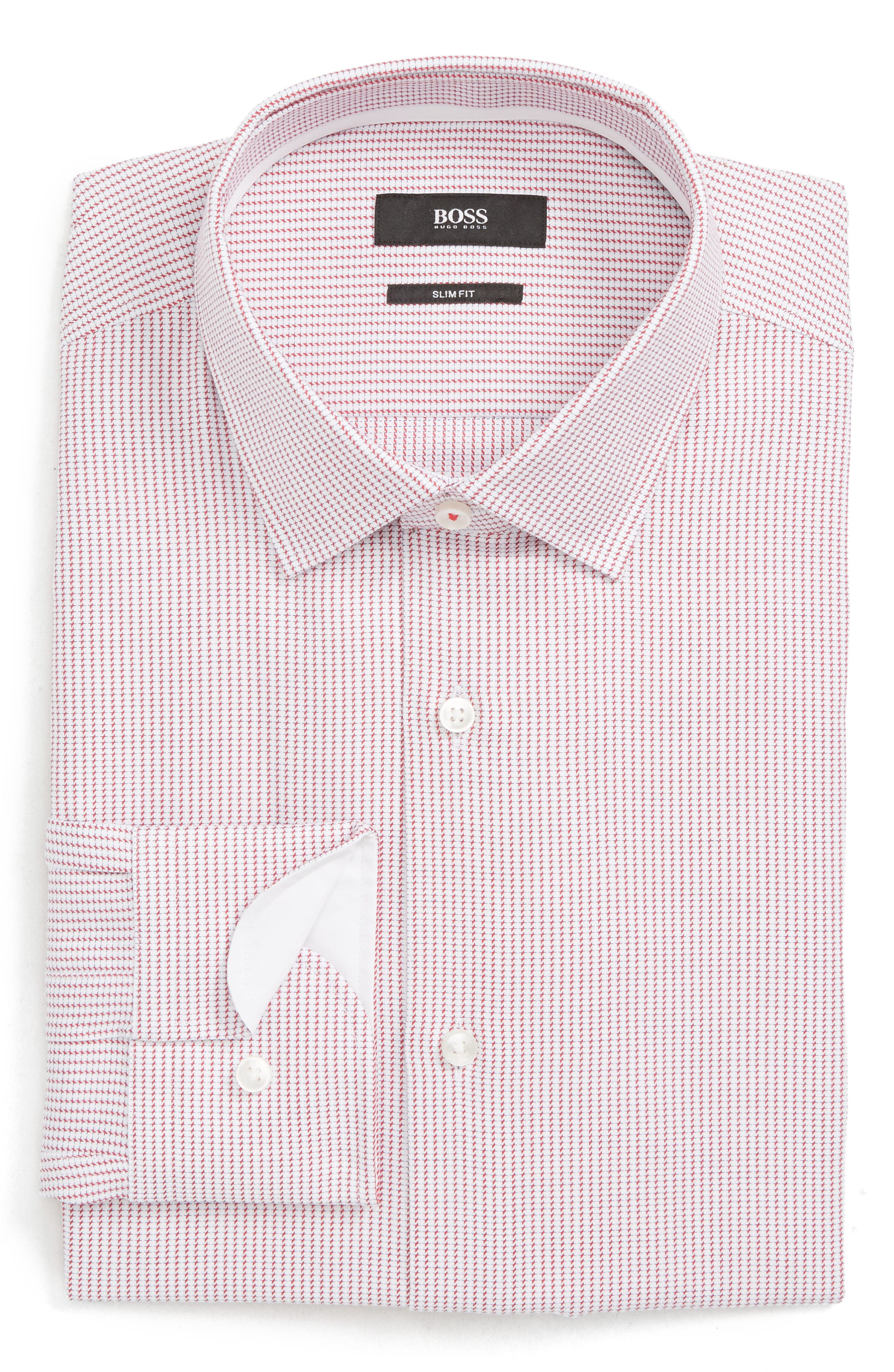Jesse Slim Fit Print Dress Shirt, Main, color, DARK PINK