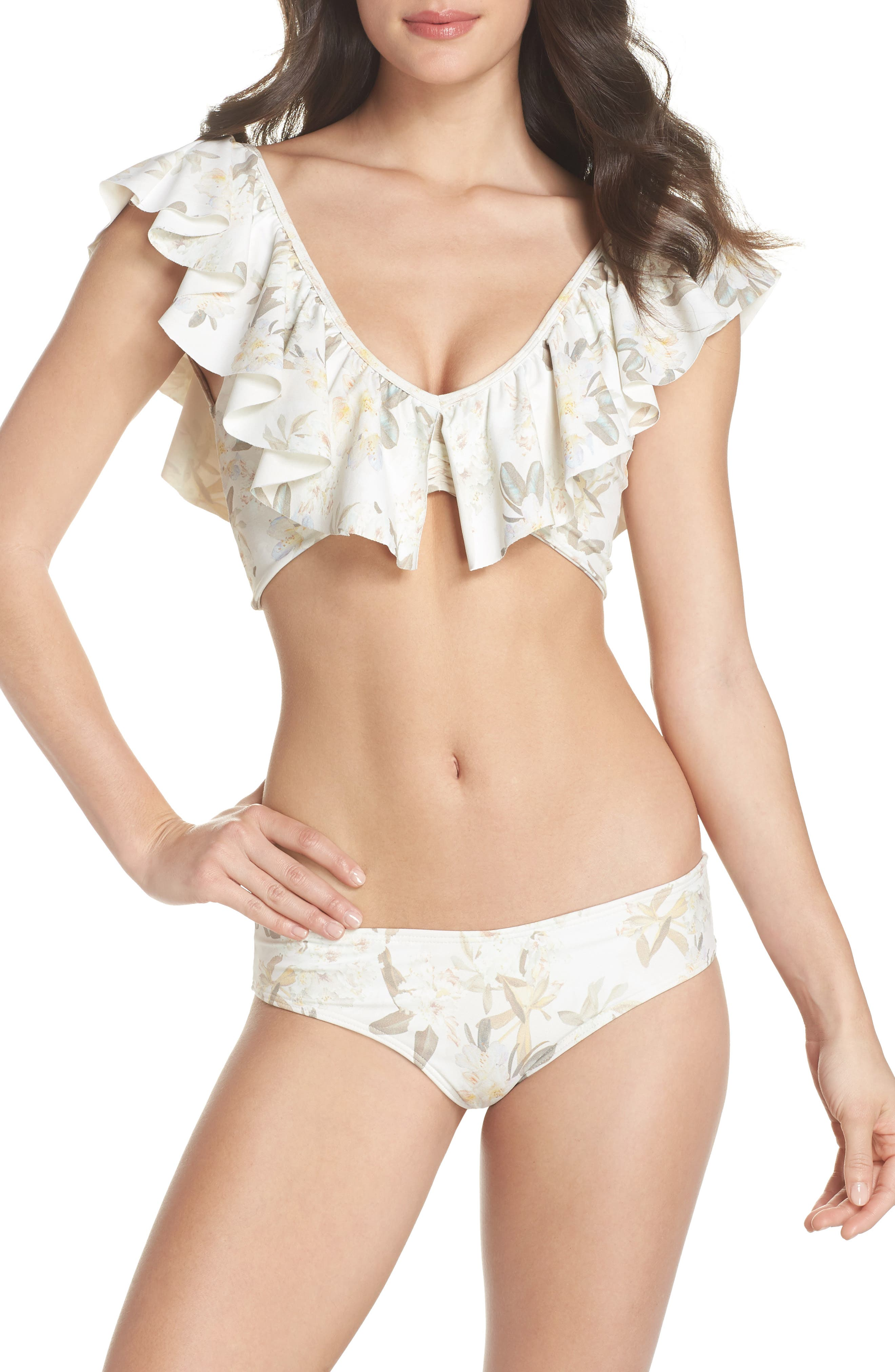 Sandrita Bikini Top,                             Alternate thumbnail 7, color,                             ETE FLORAL WHITE