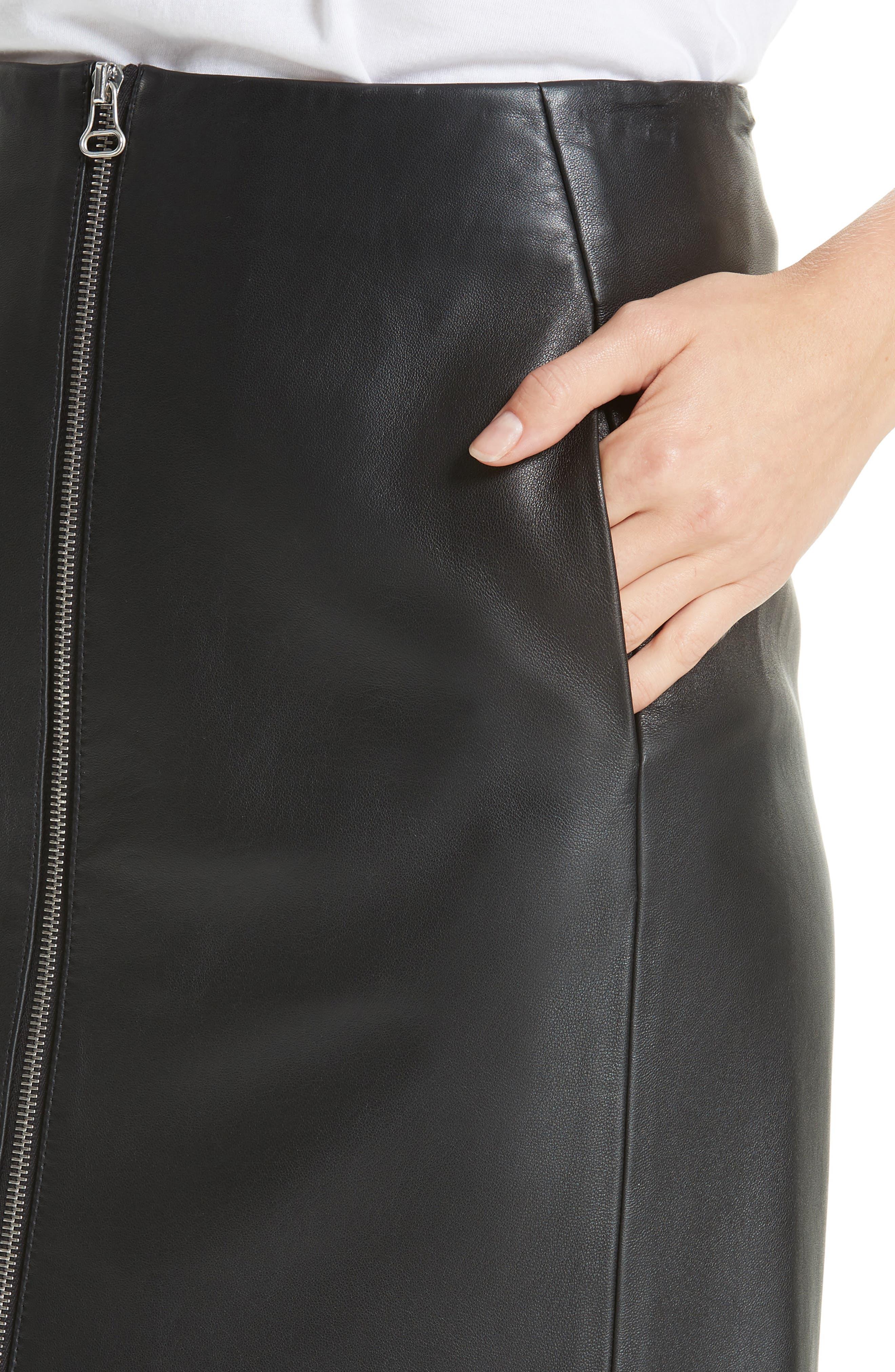 Heidi Leather Skirt,                             Alternate thumbnail 4, color,                             BLACK