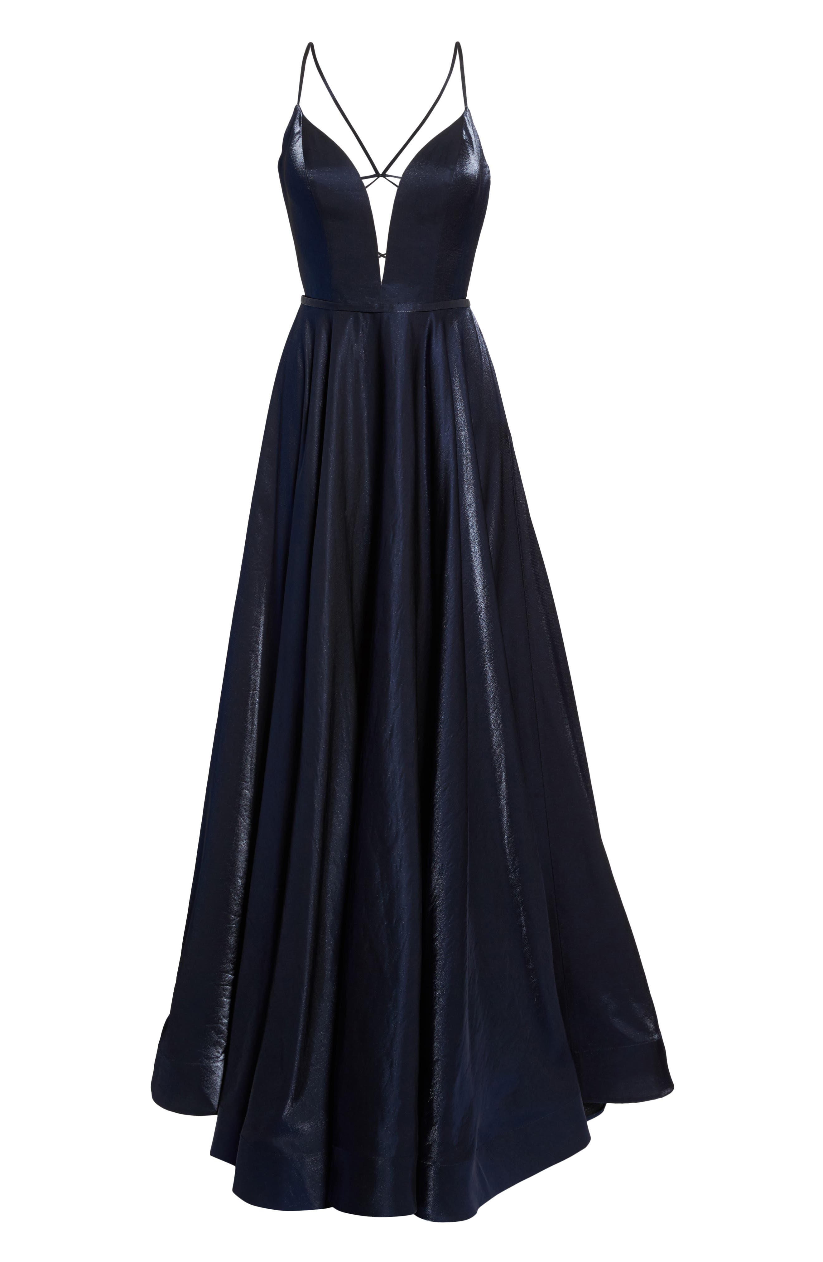 Plunging Satin A-Line Gown,                             Alternate thumbnail 6, color,                             410