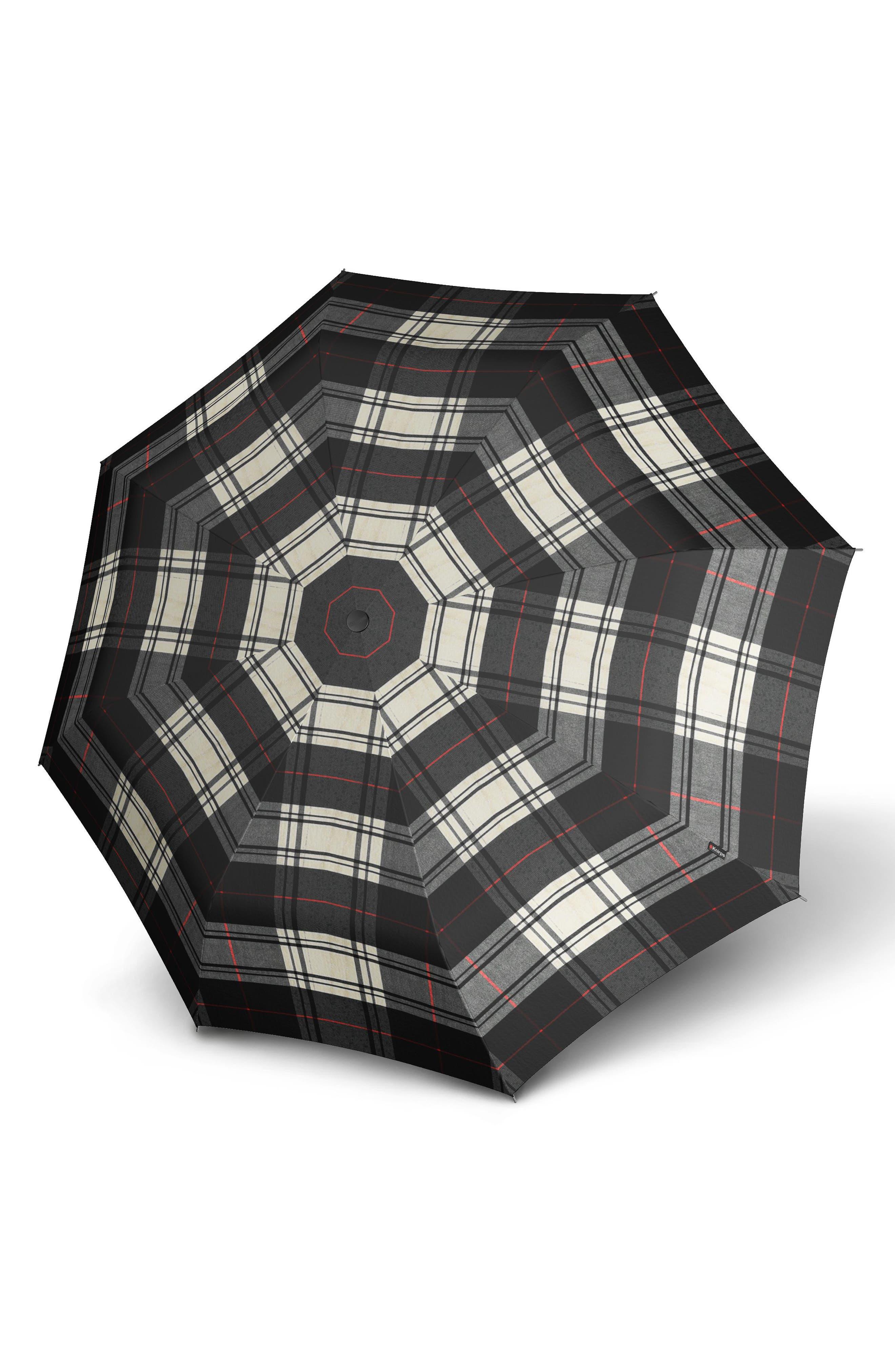 T200 Auto Open/Close Umbrella,                             Alternate thumbnail 2, color,                             BLACK/WHITE CHECK
