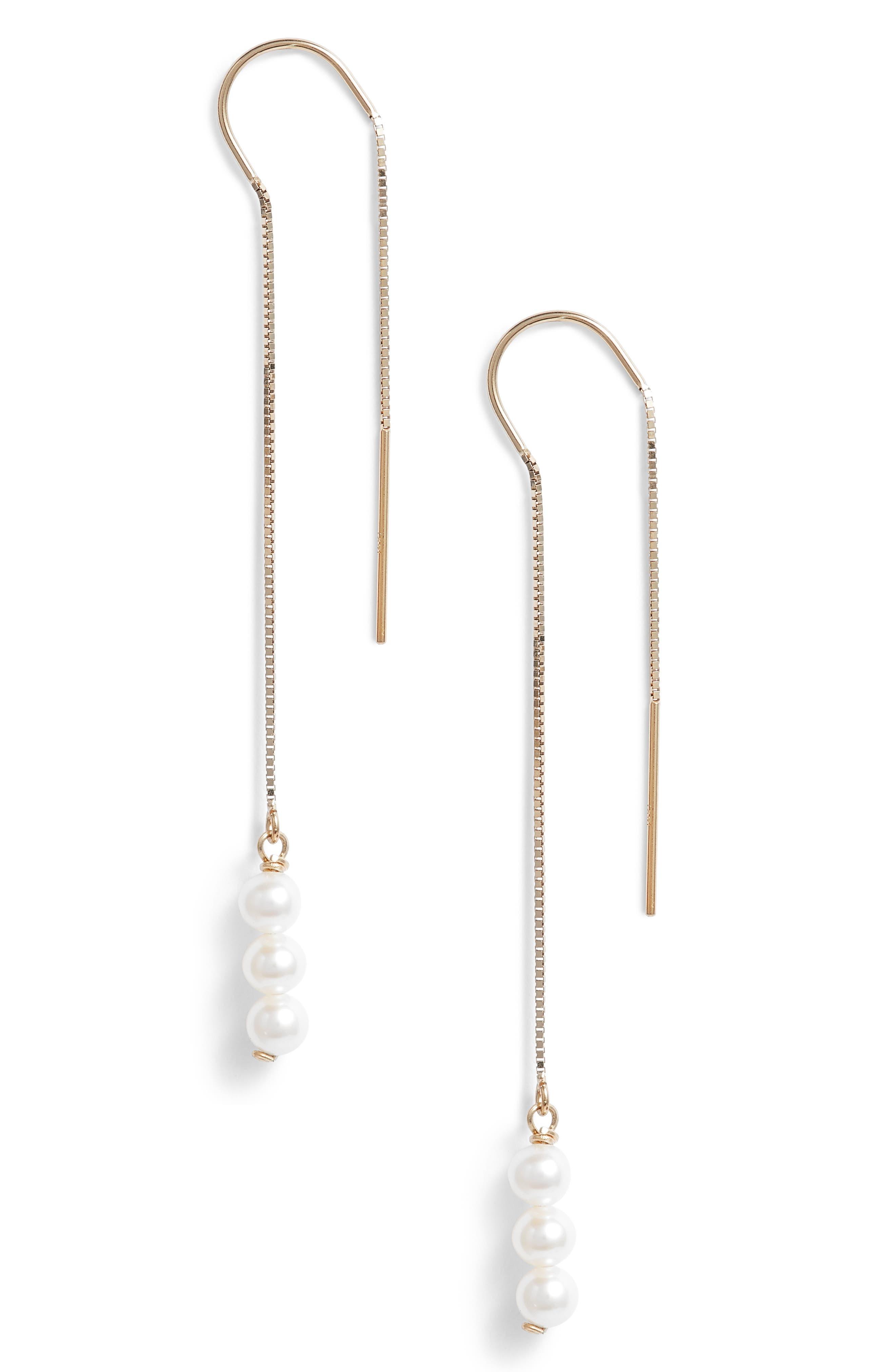 Triple Baby Pearl Threader Earrings,                         Main,                         color, 710