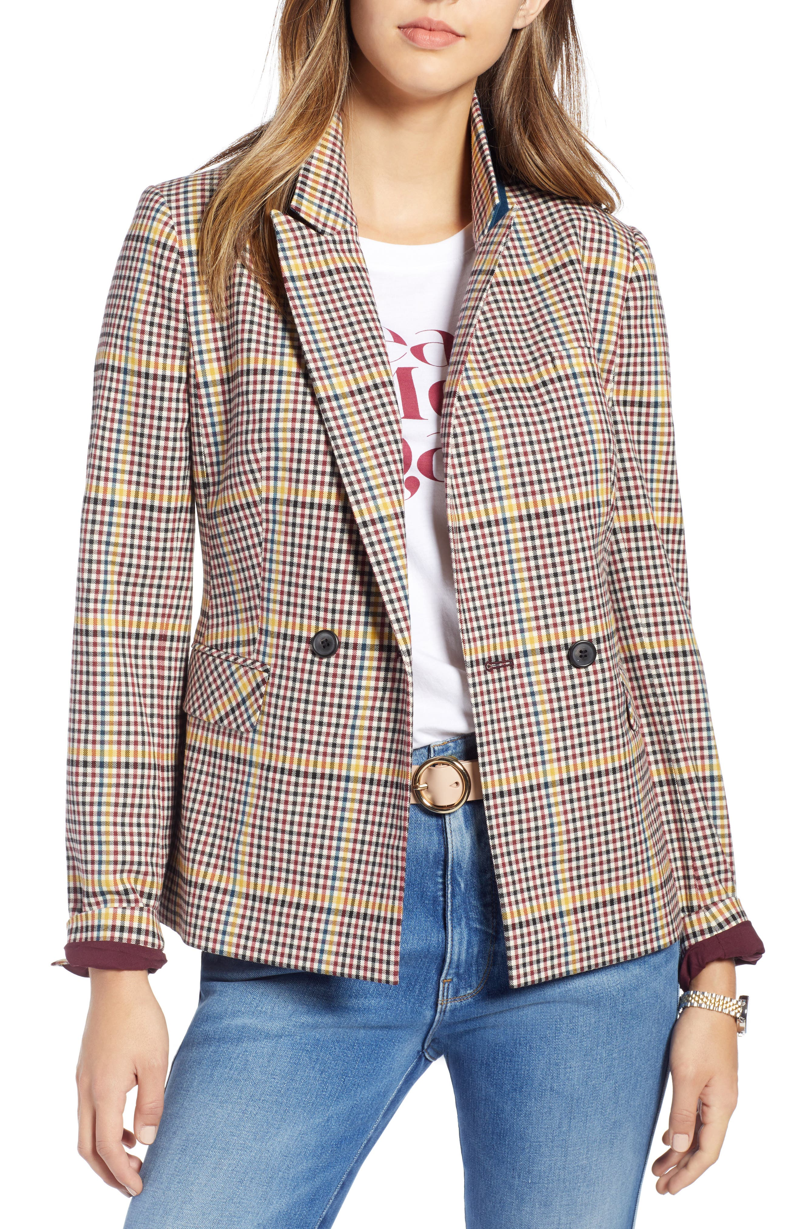 Double Breasted Plaid Blazer,                         Main,                         color, RED R- BEIGE PLAID