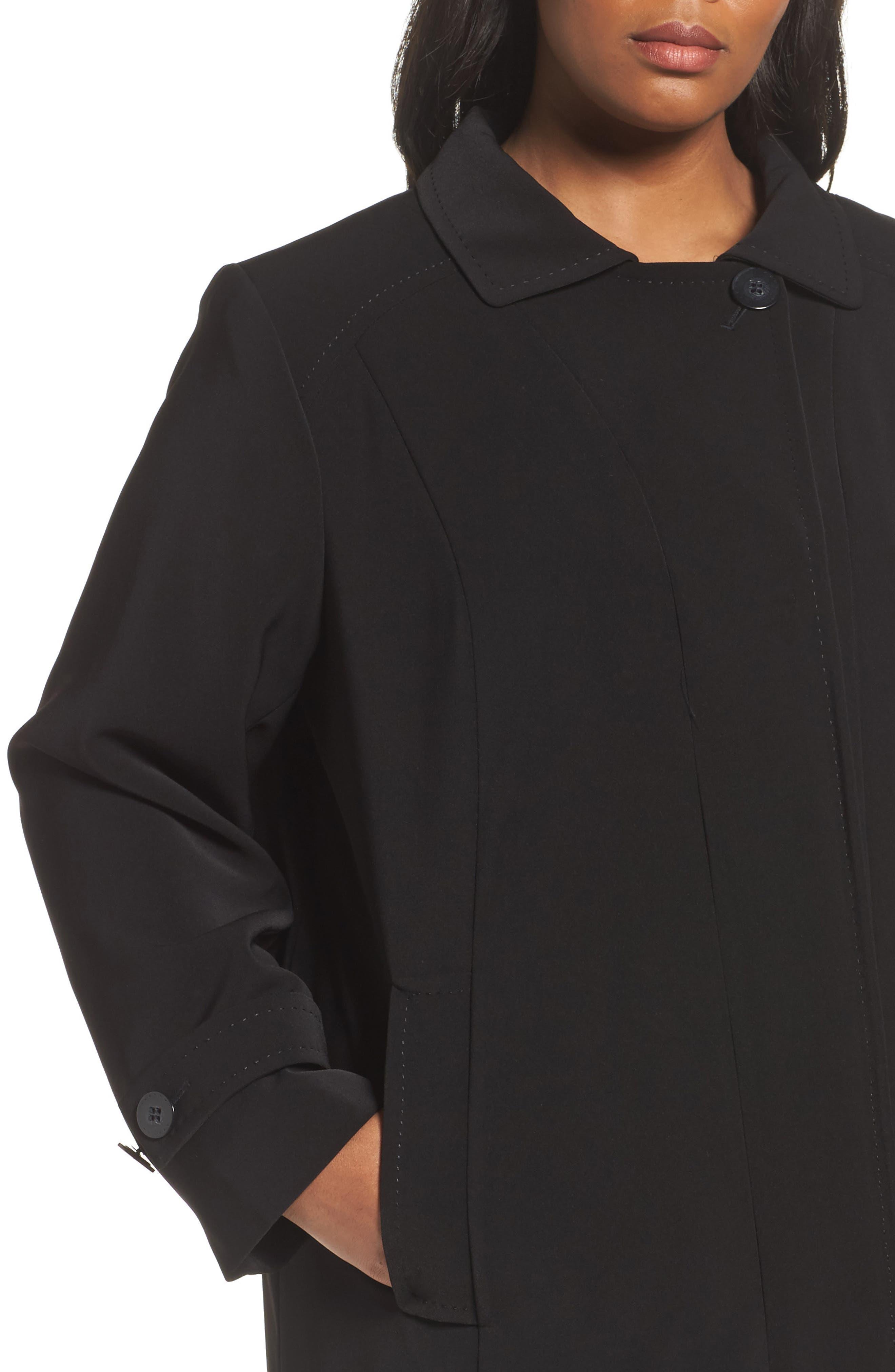 A-Line Raincoat with Detachable Hood & Liner,                             Alternate thumbnail 4, color,                             001
