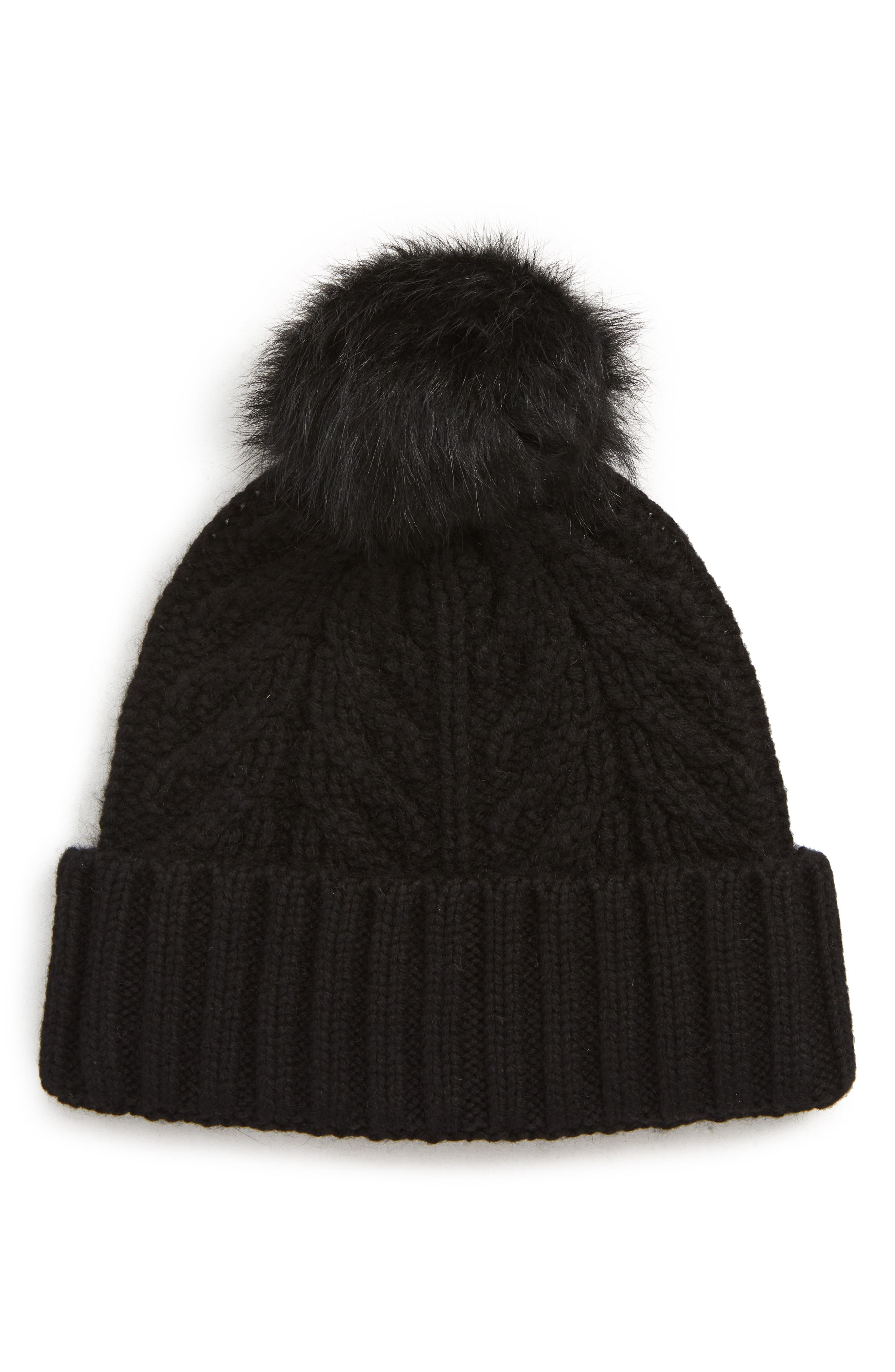 UGG<sup>®</sup> Pompom Cable Genuine Shearling Beanie,                             Main thumbnail 1, color,                             BLACK