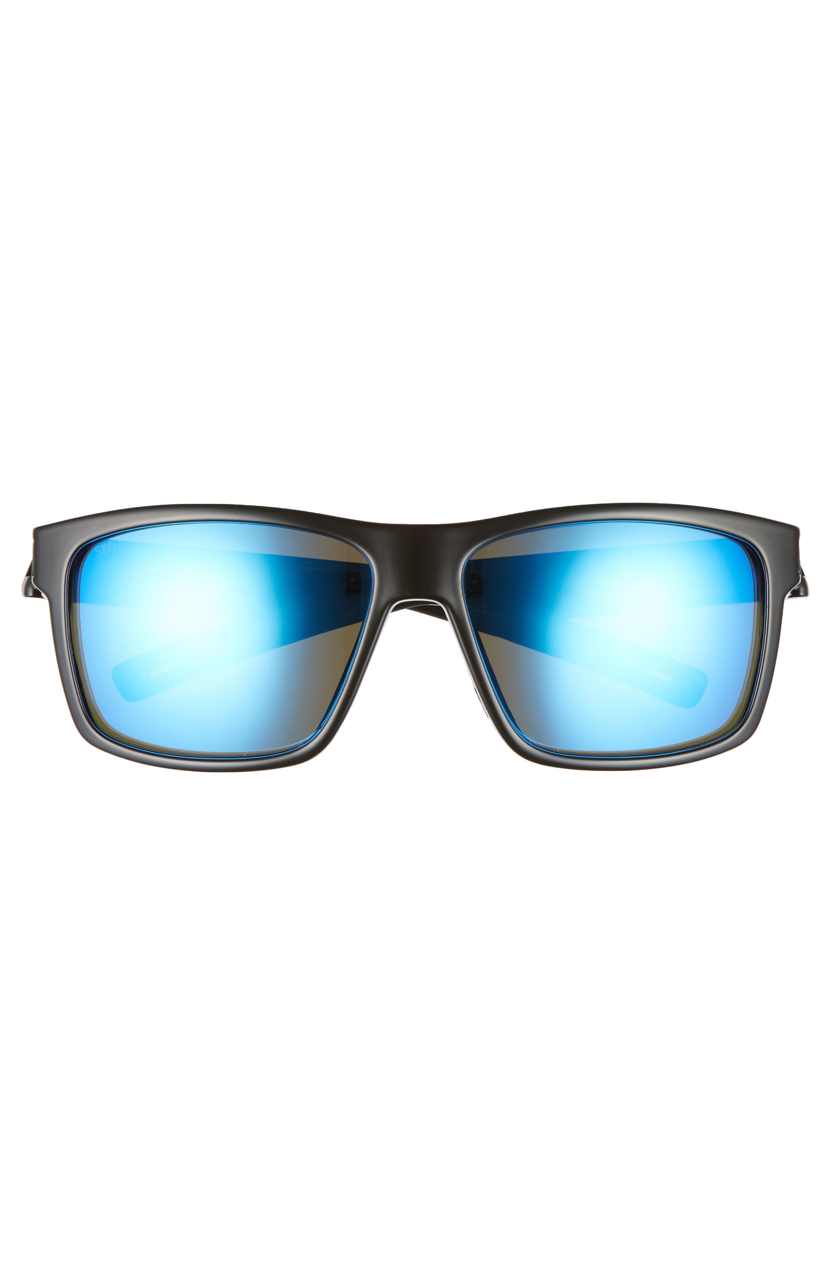 Slack Tide 58mm Polarized Sunglasses,                             Alternate thumbnail 2, color,                             SHINY BLACK/ BLUE MIRROR
