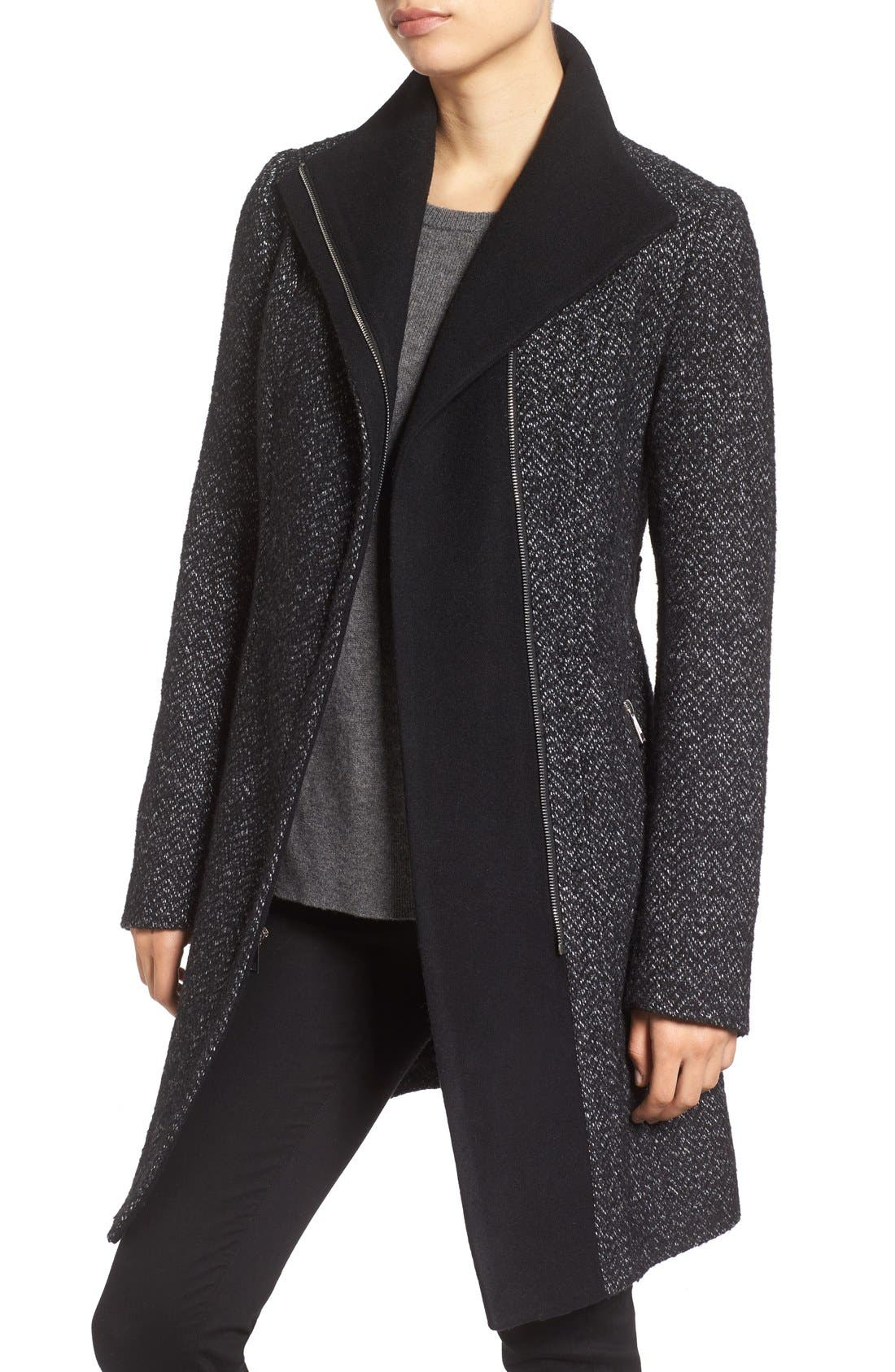 'Eva' Belted Tweed Jacket,                             Alternate thumbnail 4, color,                             008