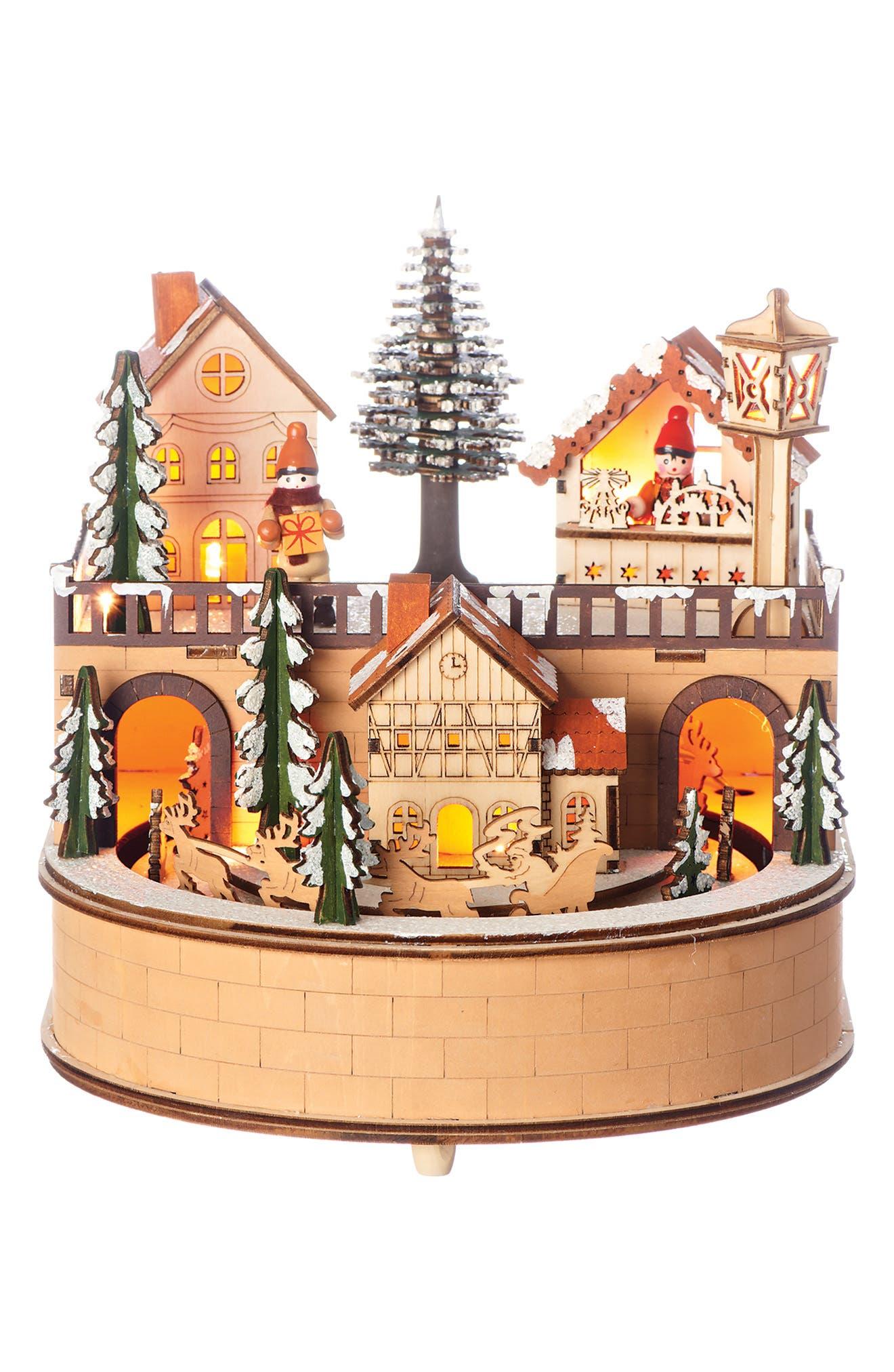 LED Wooden Laser Cut Village Decoration,                             Main thumbnail 1, color,                             200