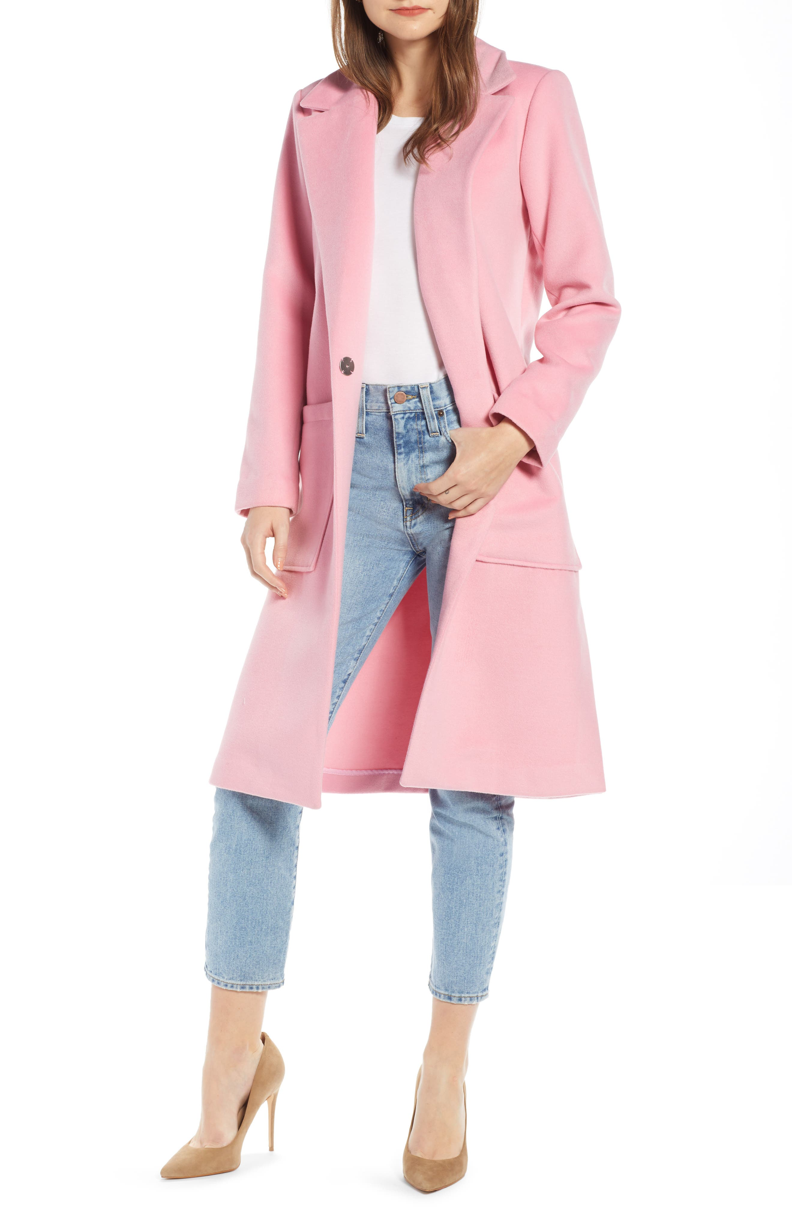 Something Navy Patch Pocket Coat, Pink