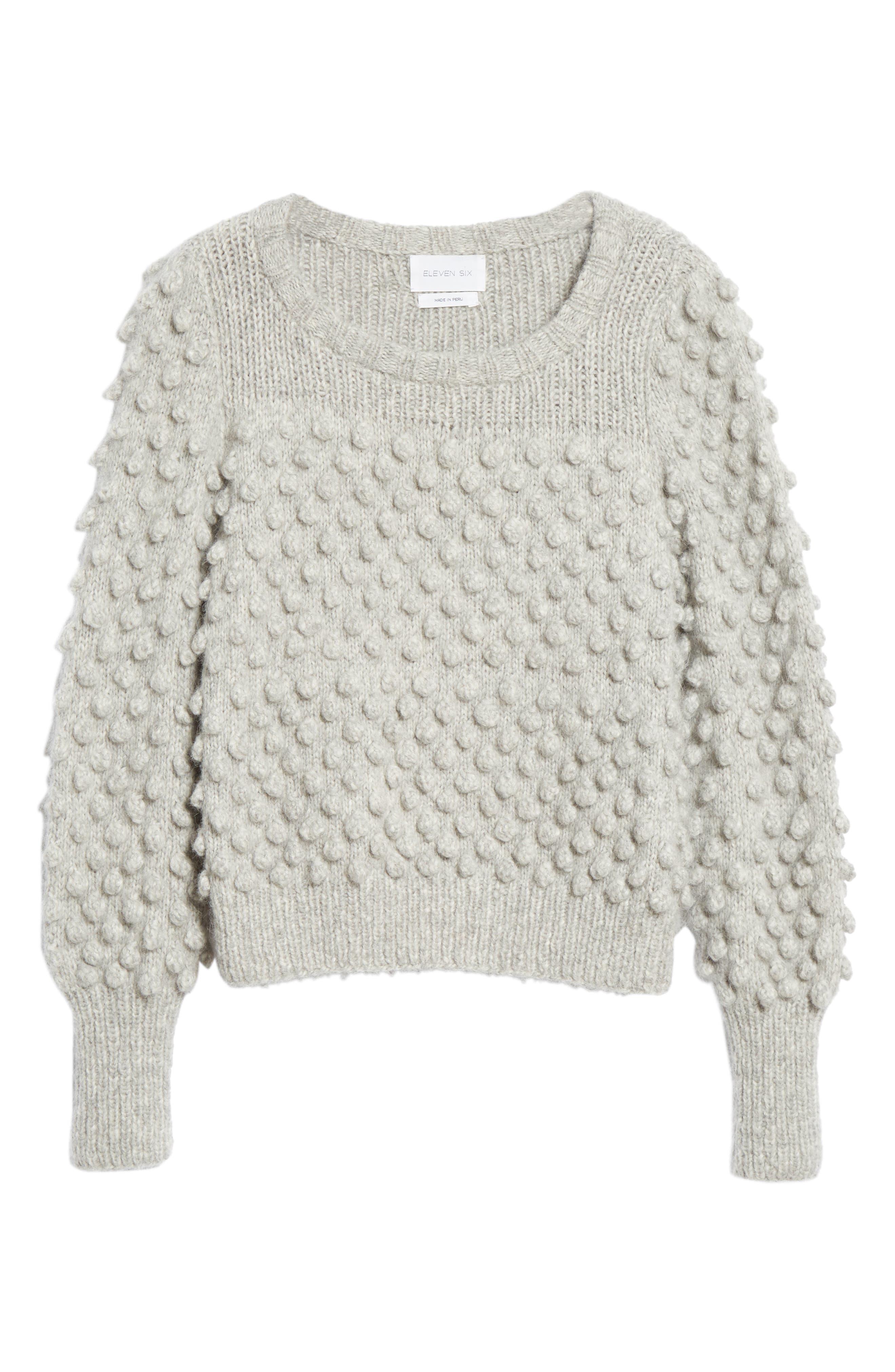 Camilla Baby Alpaca Blend Sweater,                             Alternate thumbnail 6, color,                             PALE MELANGE GREY