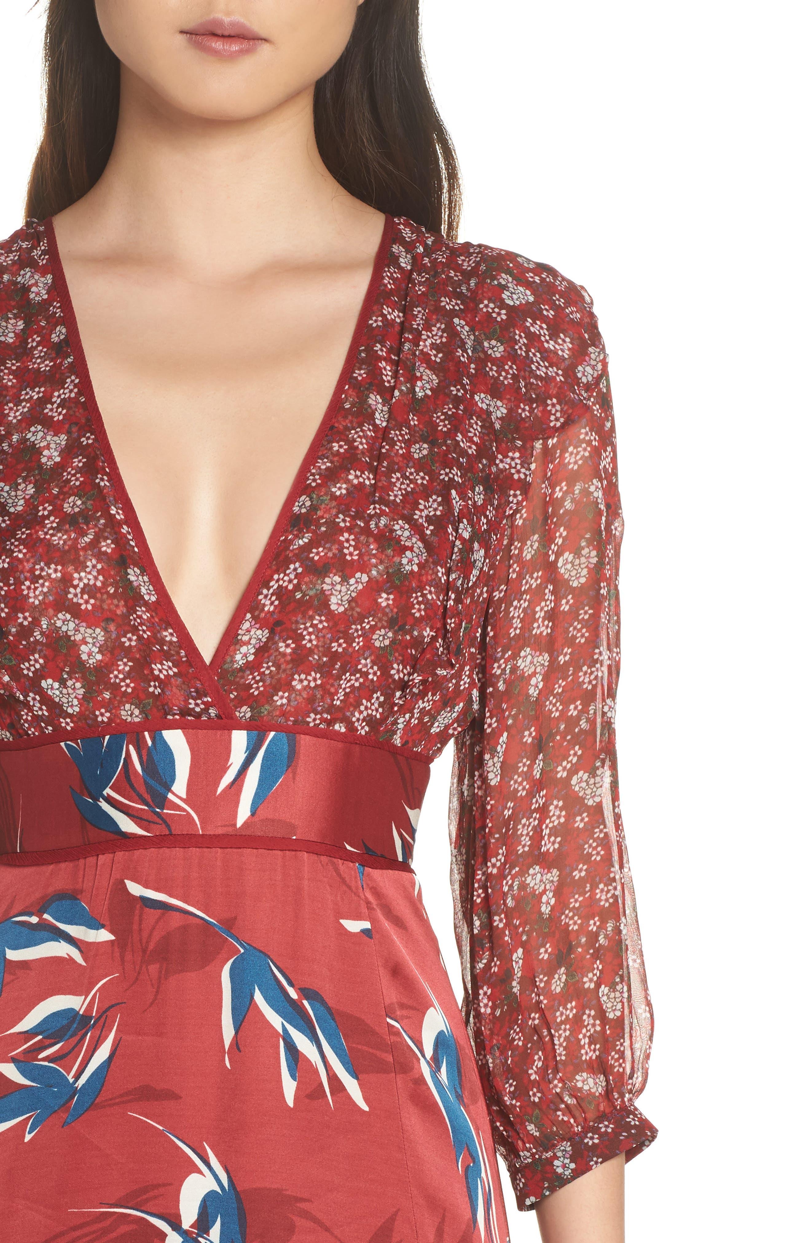 Mixed Print Midi Dress,                             Alternate thumbnail 4, color,                             RED MULTI