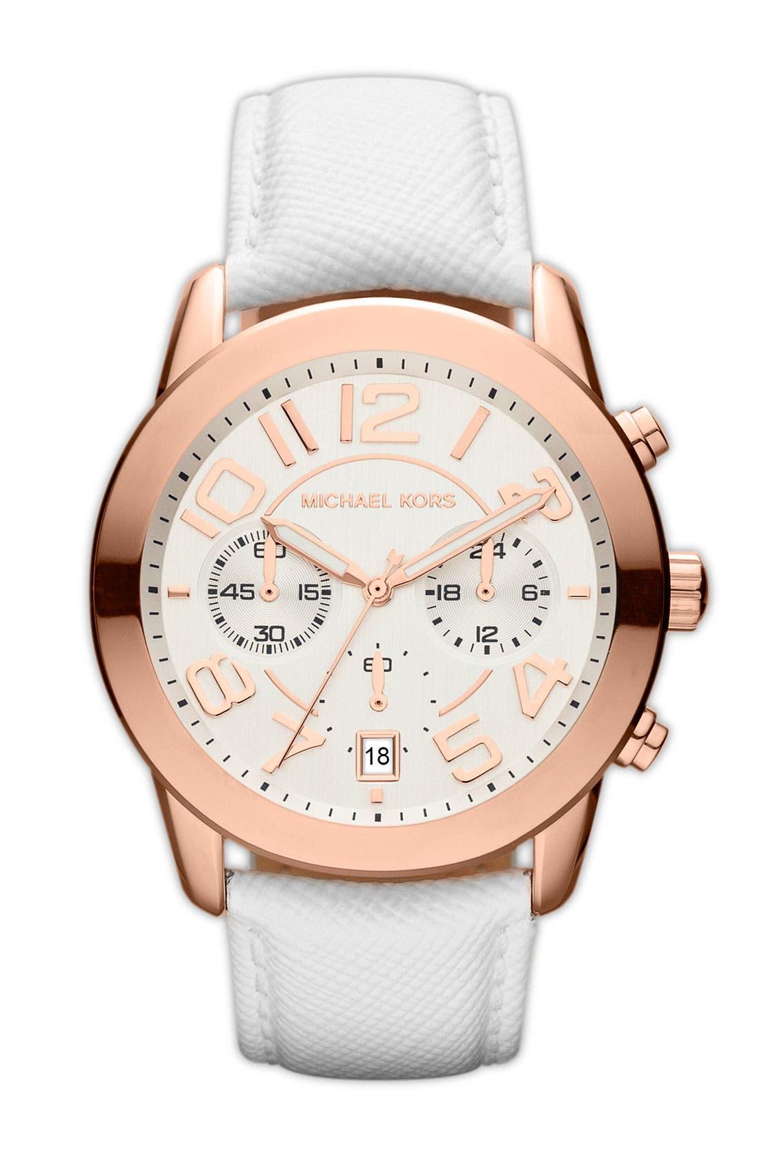 Michael Kors Chronograph Leather Strap Watch, 41mm,                             Main thumbnail 2, color,