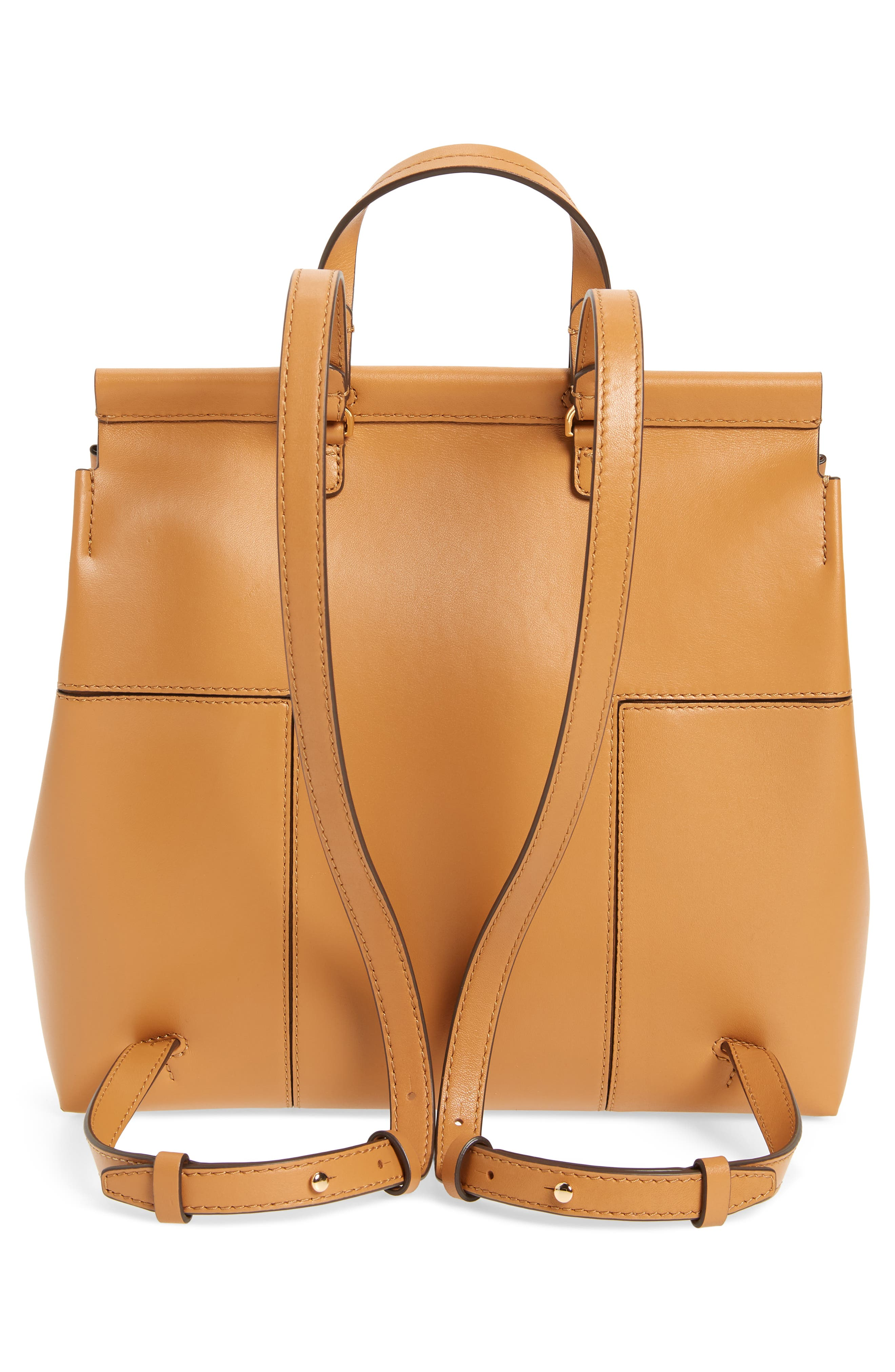 Block T Leather Backpack,                             Alternate thumbnail 3, color,                             BRITISH TAN / BRITISH TAN