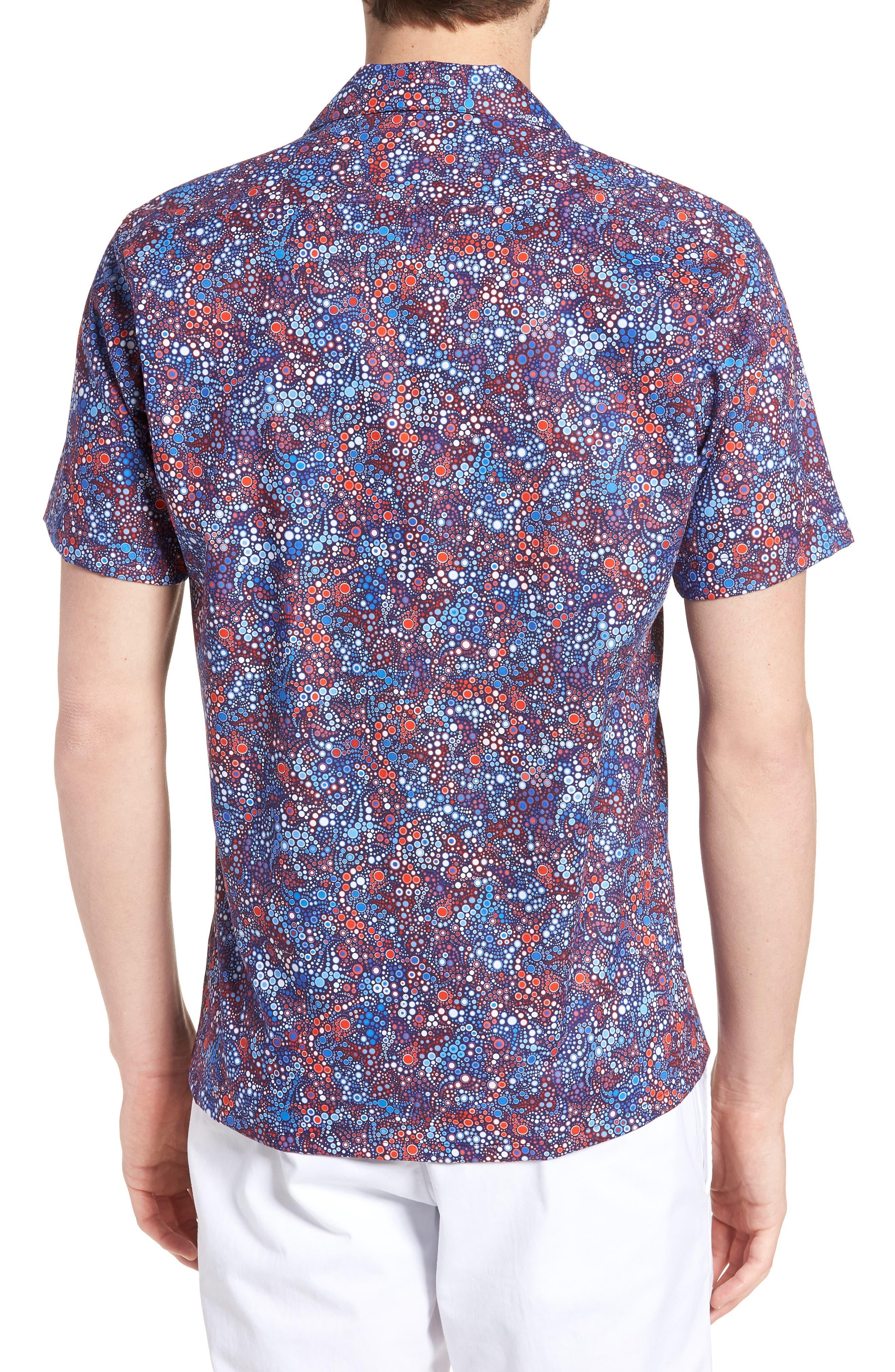 Sanibel Novelty Trim Fit Sport Shirt,                             Alternate thumbnail 2, color,                             BLUE